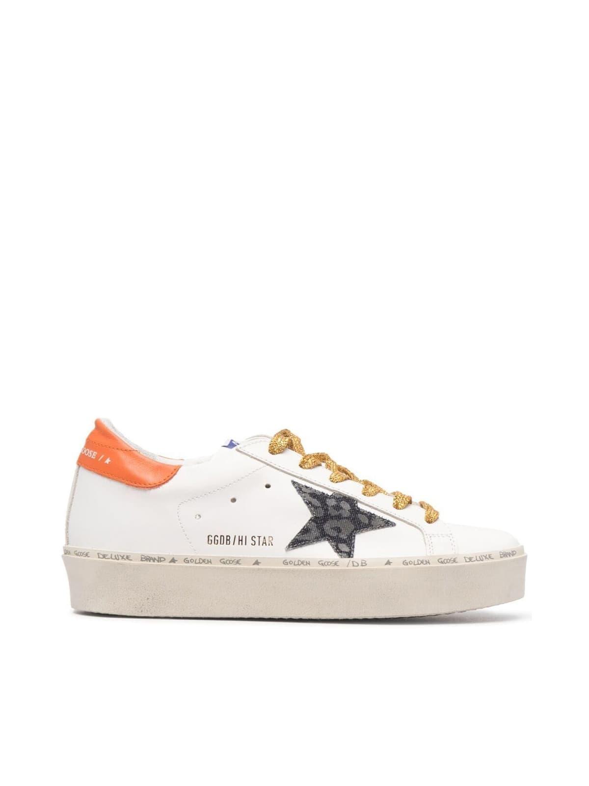 Buy Golden Goose Hi Star Leather Upper And Heel Leopard Denim Star online, shop Golden Goose shoes with free shipping
