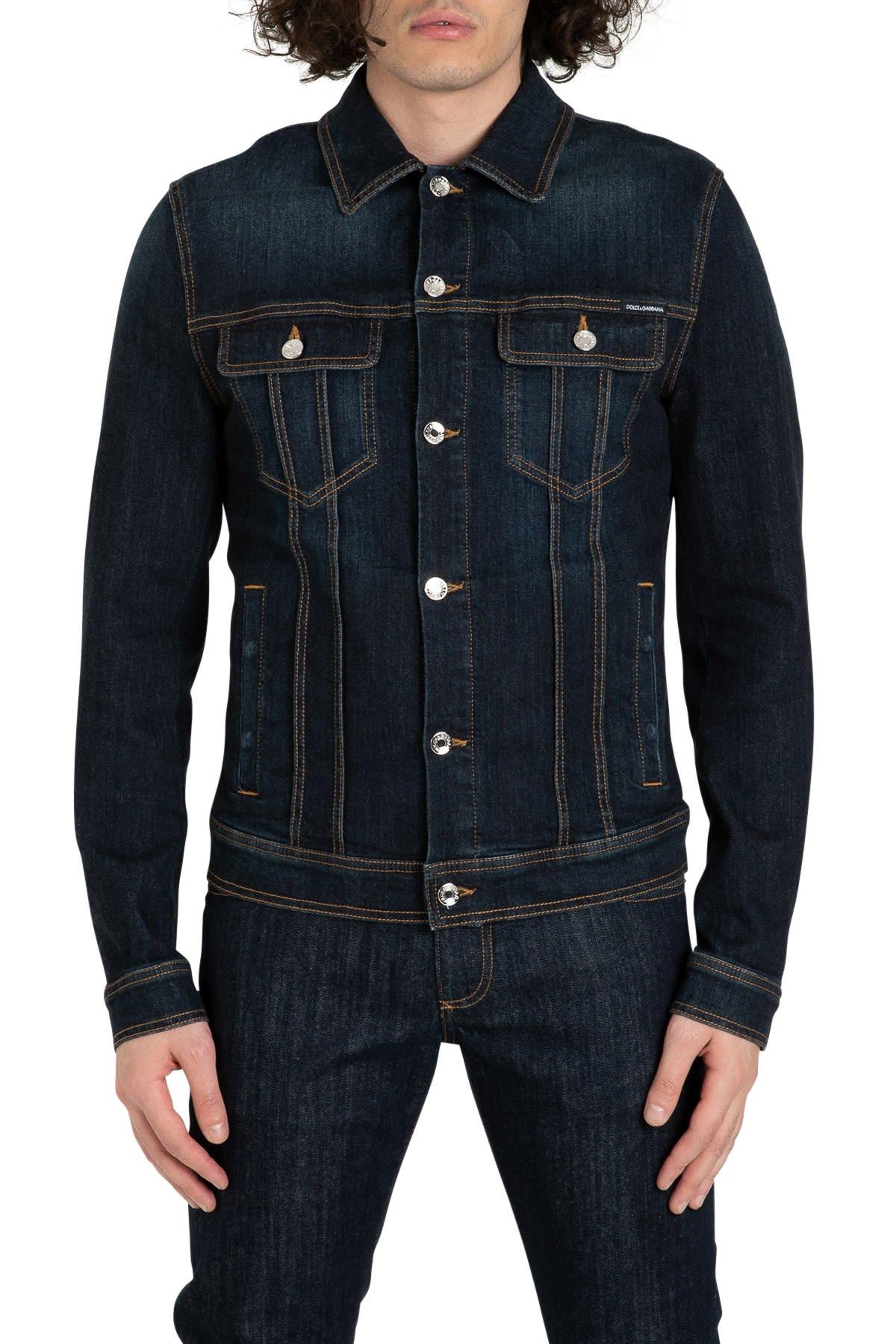 Dolce & Gabbana Denim Jacket With Logo Patch On Back