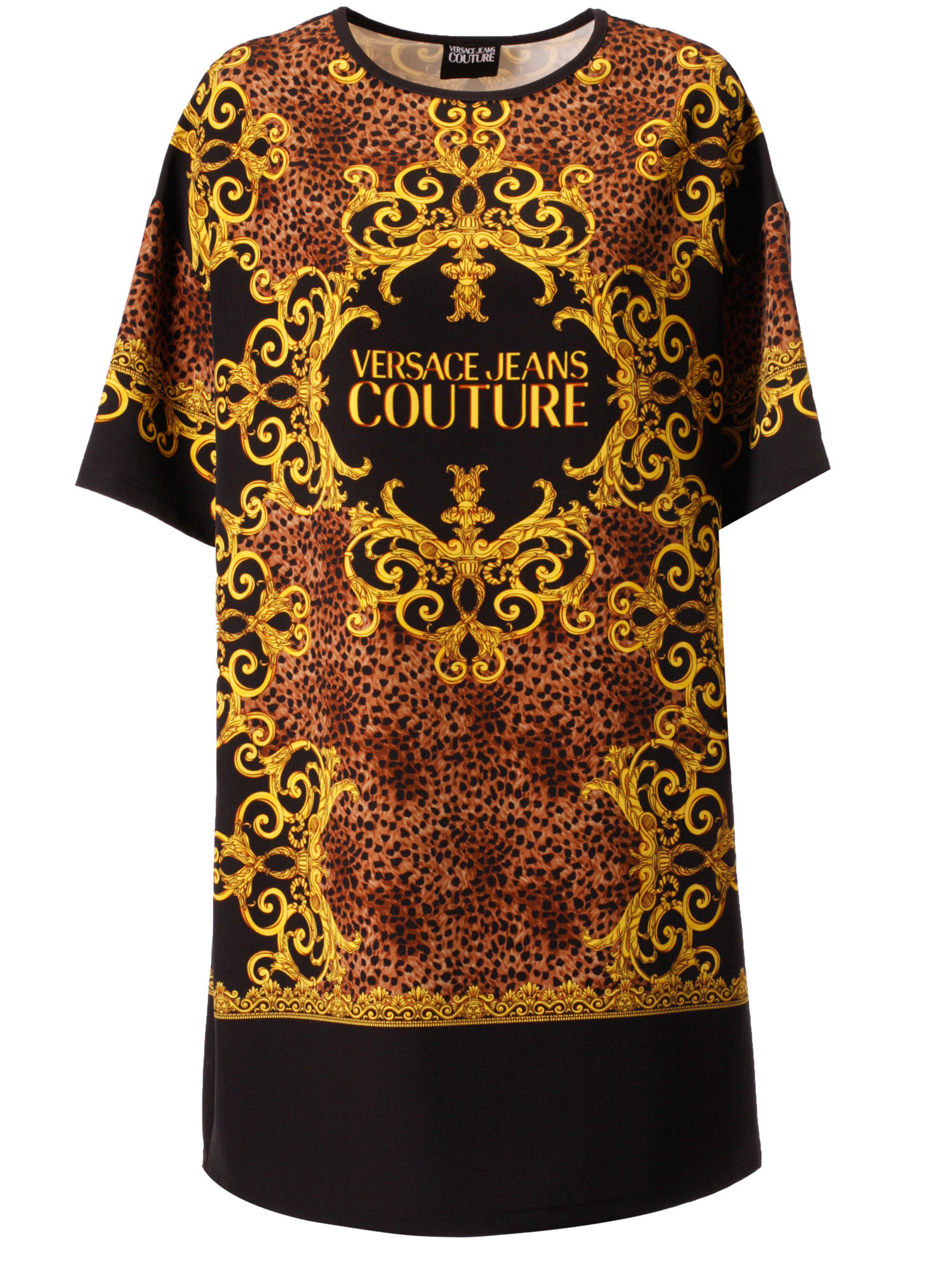 Versace Jeans Couture Leopard & Baroque Print Dress