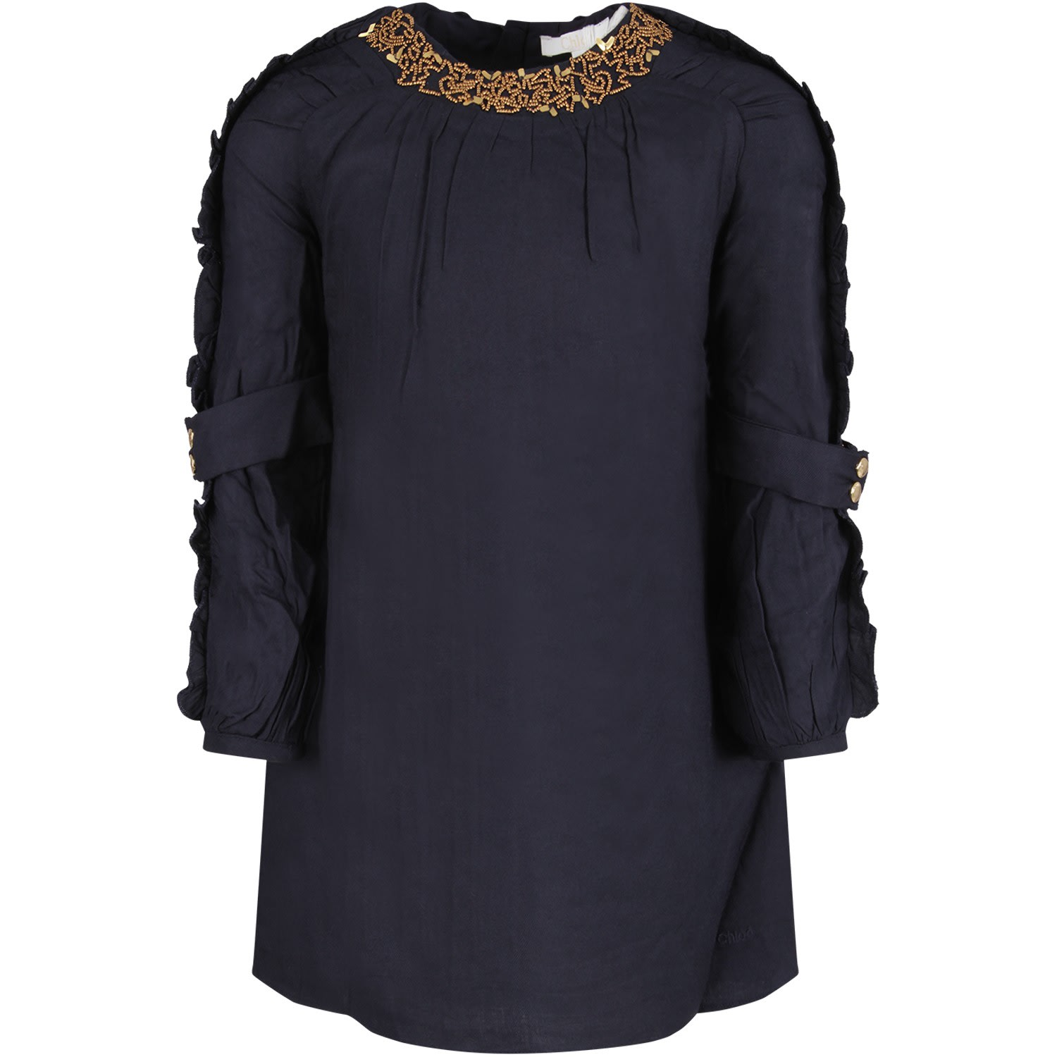 Chloé Blue Girl Dress With Gold Pearls