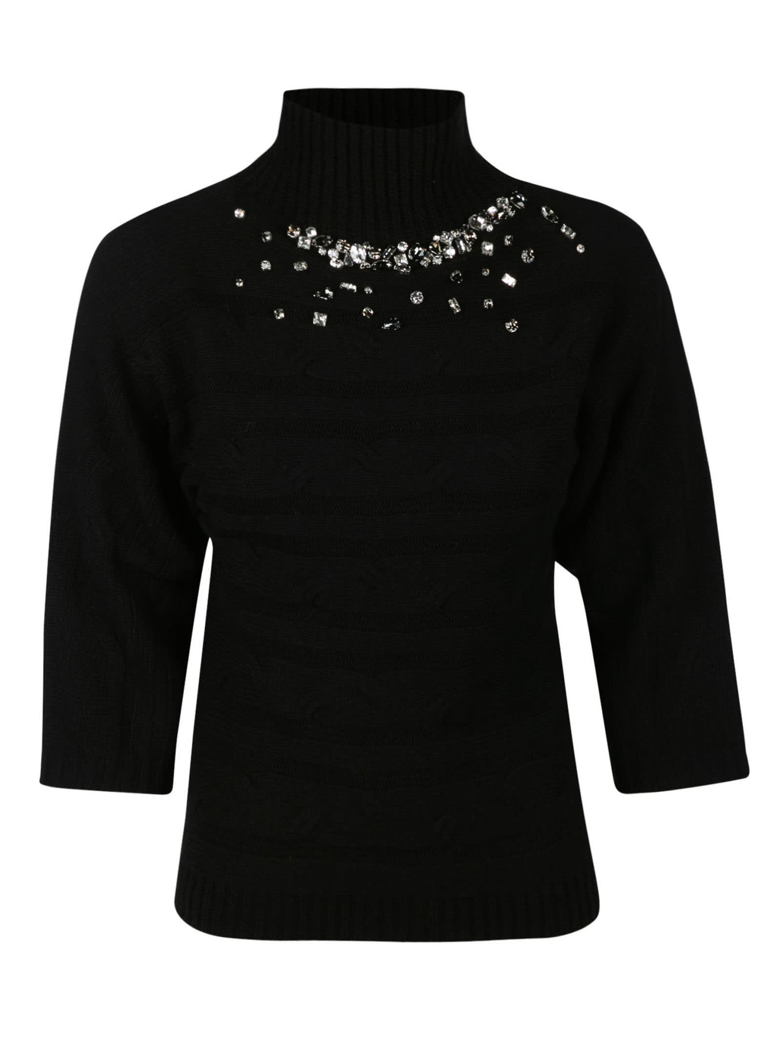 Crystal Embellished Turtleneck Sweater