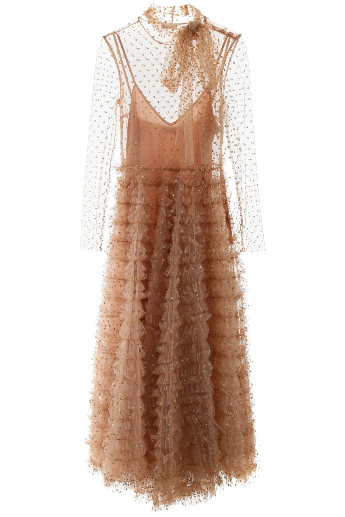 Buy RED Valentino Ruffled Tulle Dress With Glitter Polka Dots online, shop RED Valentino with free shipping