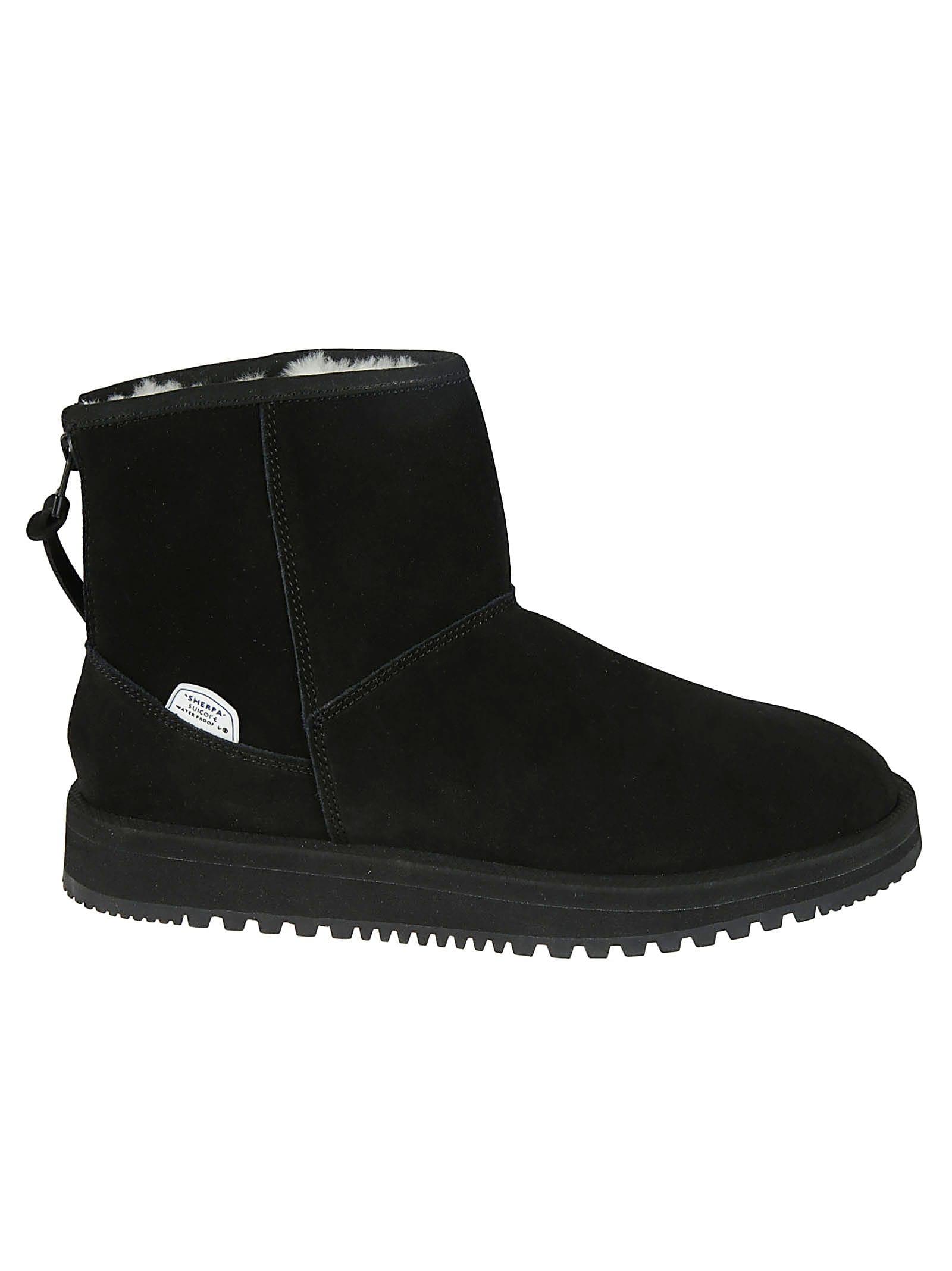 Suicoke Stitch Detail Rear Zip Flat Boots In Black