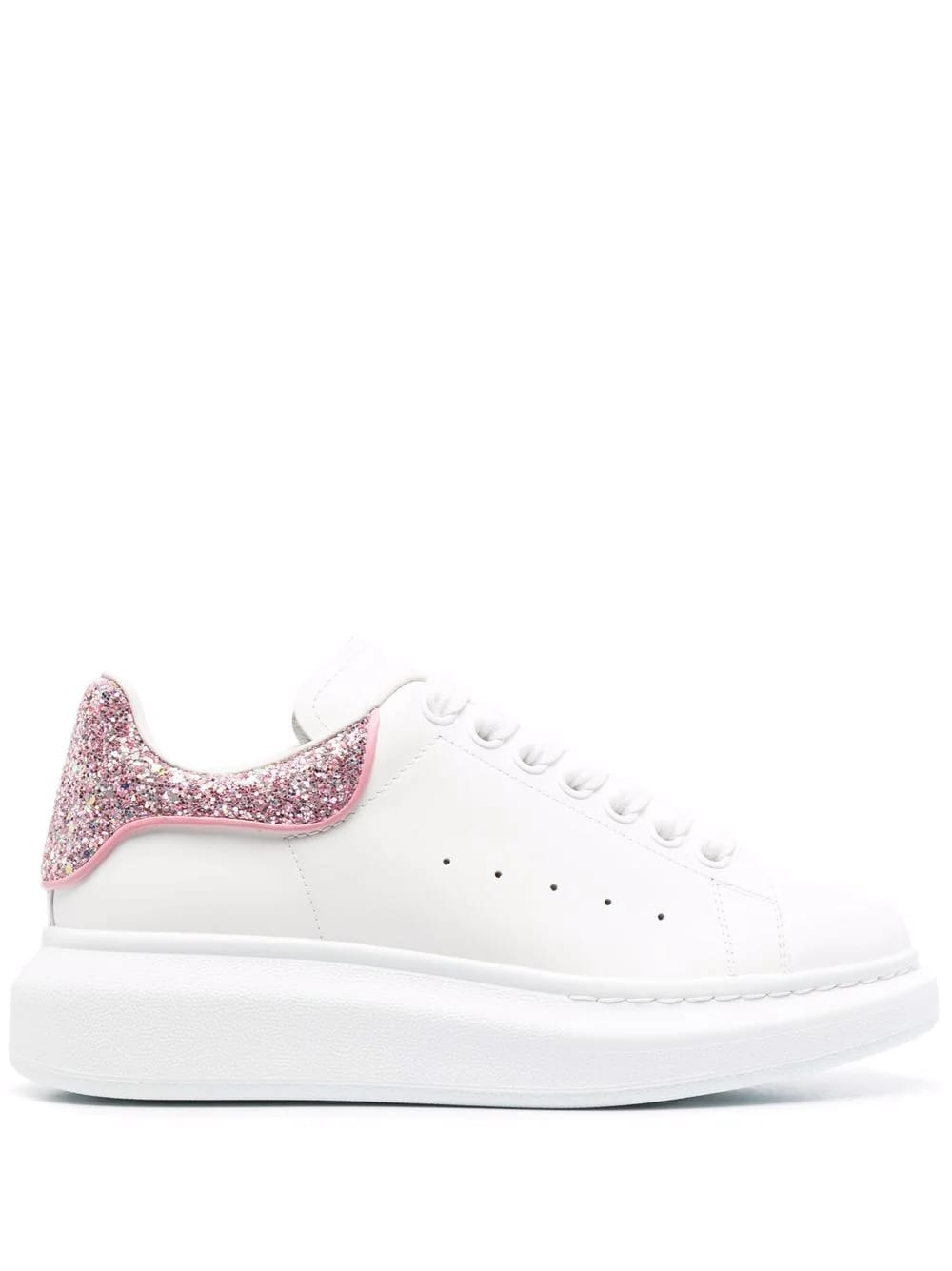 Alexander McQueen Woman White Oversize Sneakers With Fuchsia Glittered Spoiler
