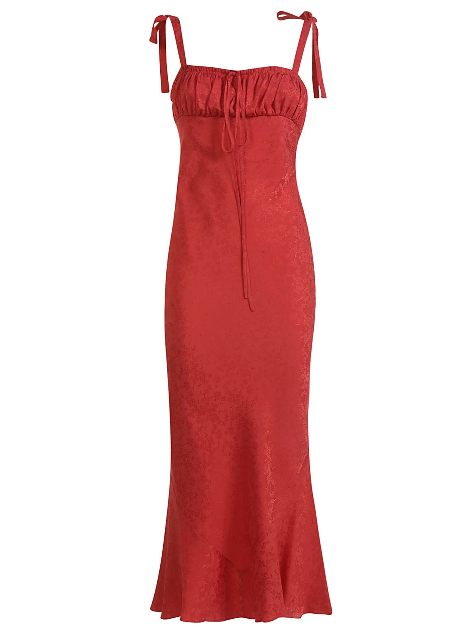 Wandering Jacquard Midy Dress In Red