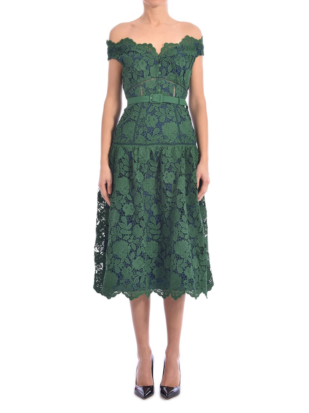 Buy self-portrait Lace Dress Green online, shop self-portrait with free shipping