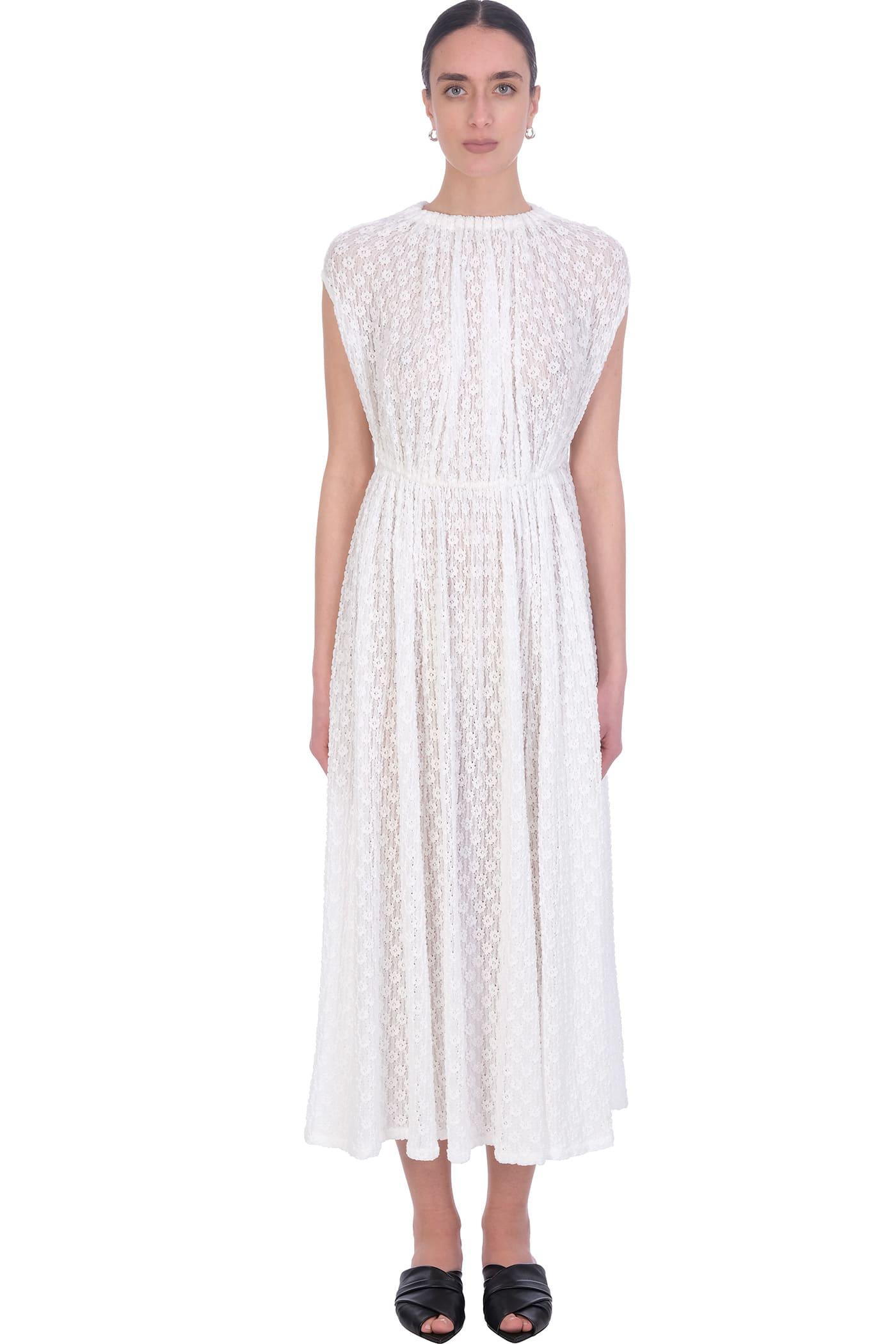 Jil Sander Cottons DRESS IN WHITE POLYAMIDE