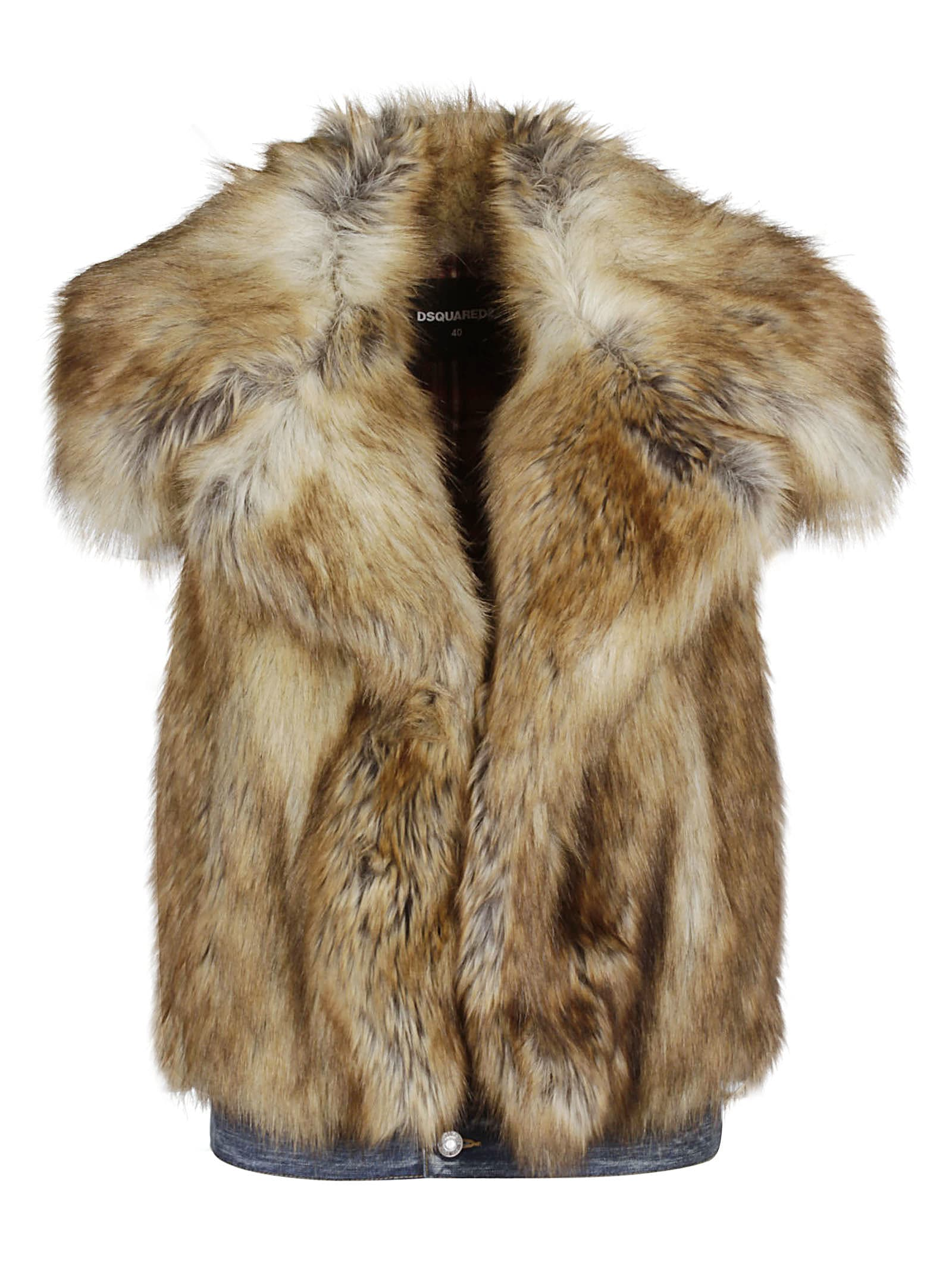 Dsquared2 Sleeveless Faux Fur Jacket