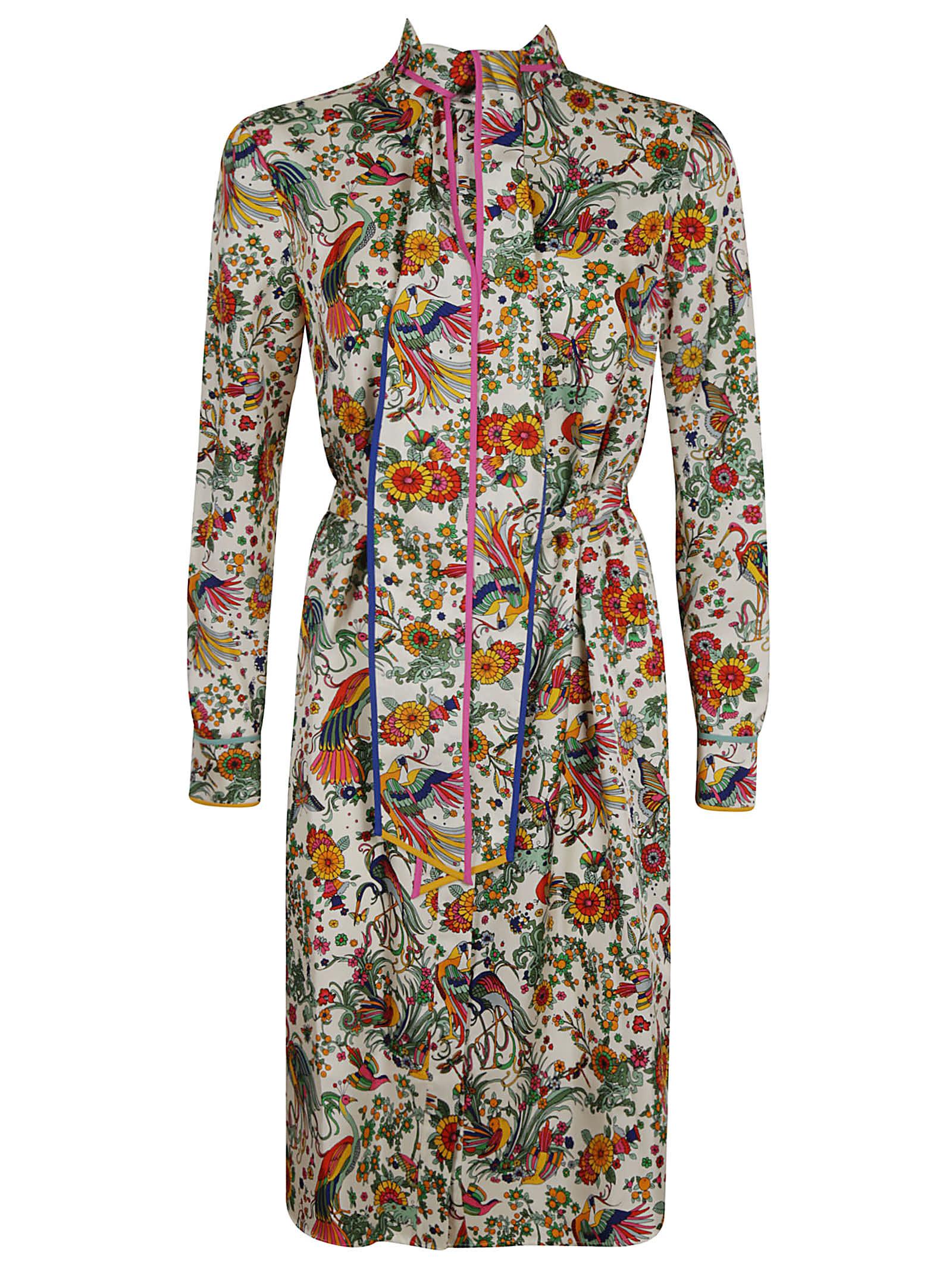 Buy Tory Burch Contrast Binding Printed Shirt Dress online, shop Tory Burch with free shipping