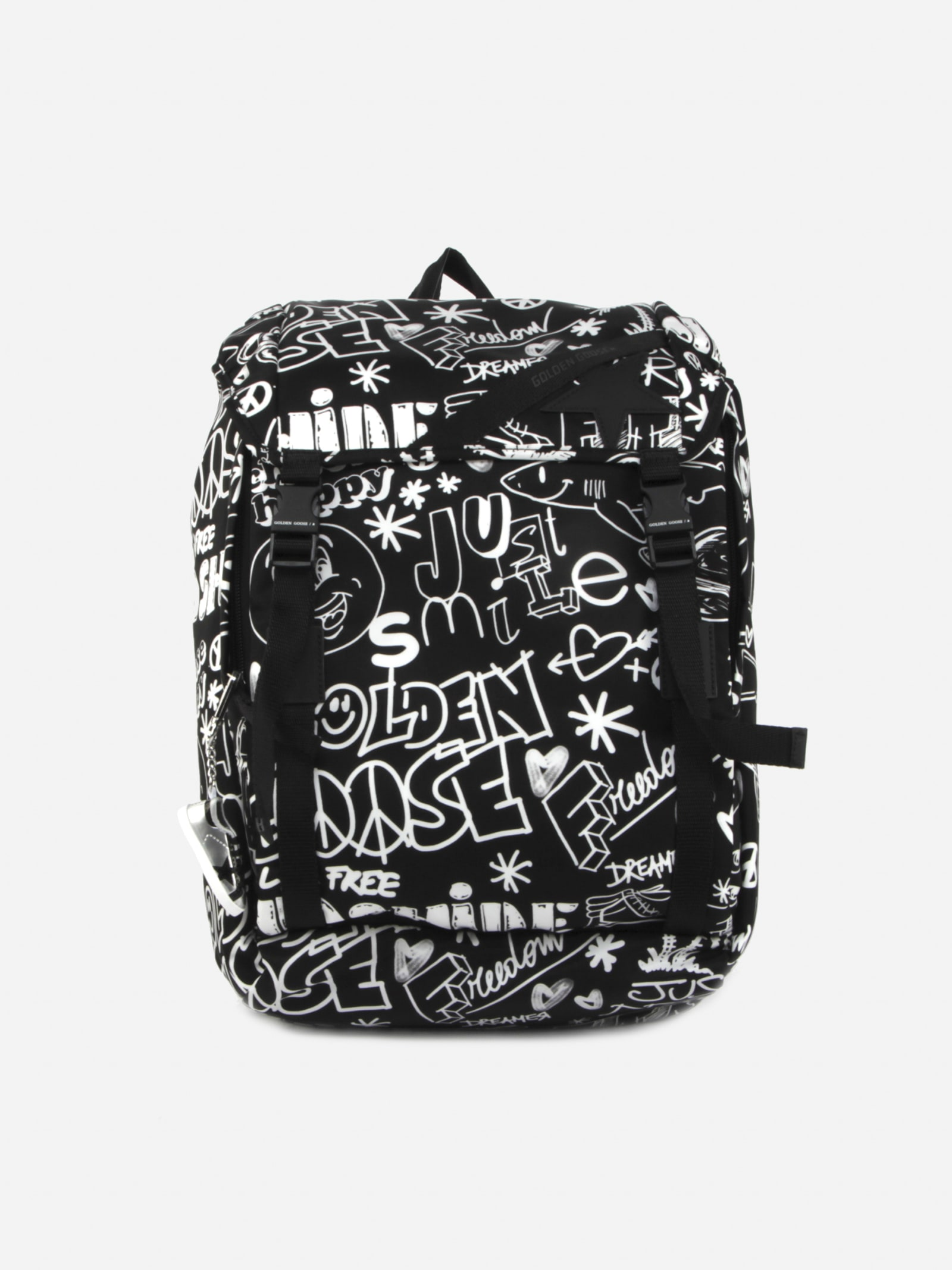 Golden Goose Backpacks NYLON BACKPACK WITH ALL-OVER CONTRASTING PRINTS