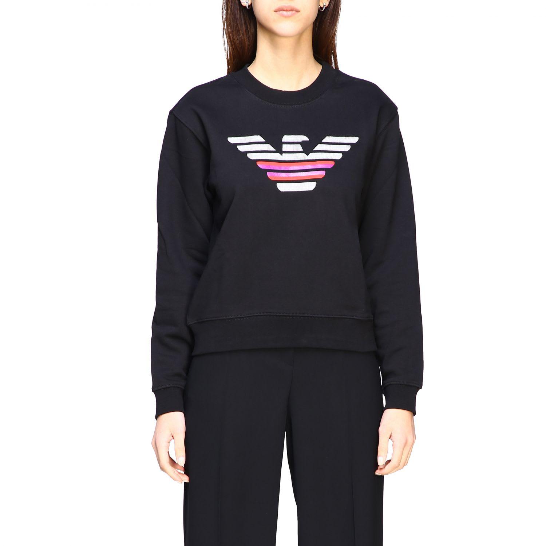 Emporio Armani Crewneck Sweatshirt With Logo In Black