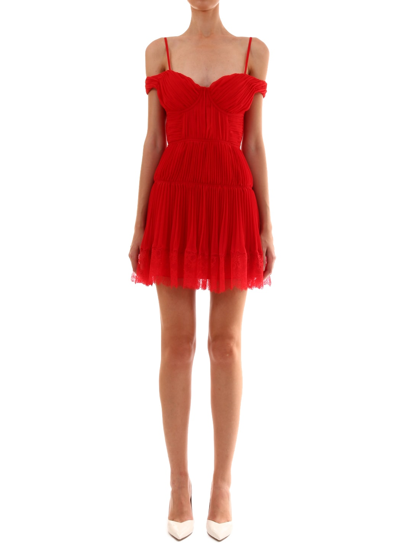 self-portrait Pleated Chiffon Mini Dress