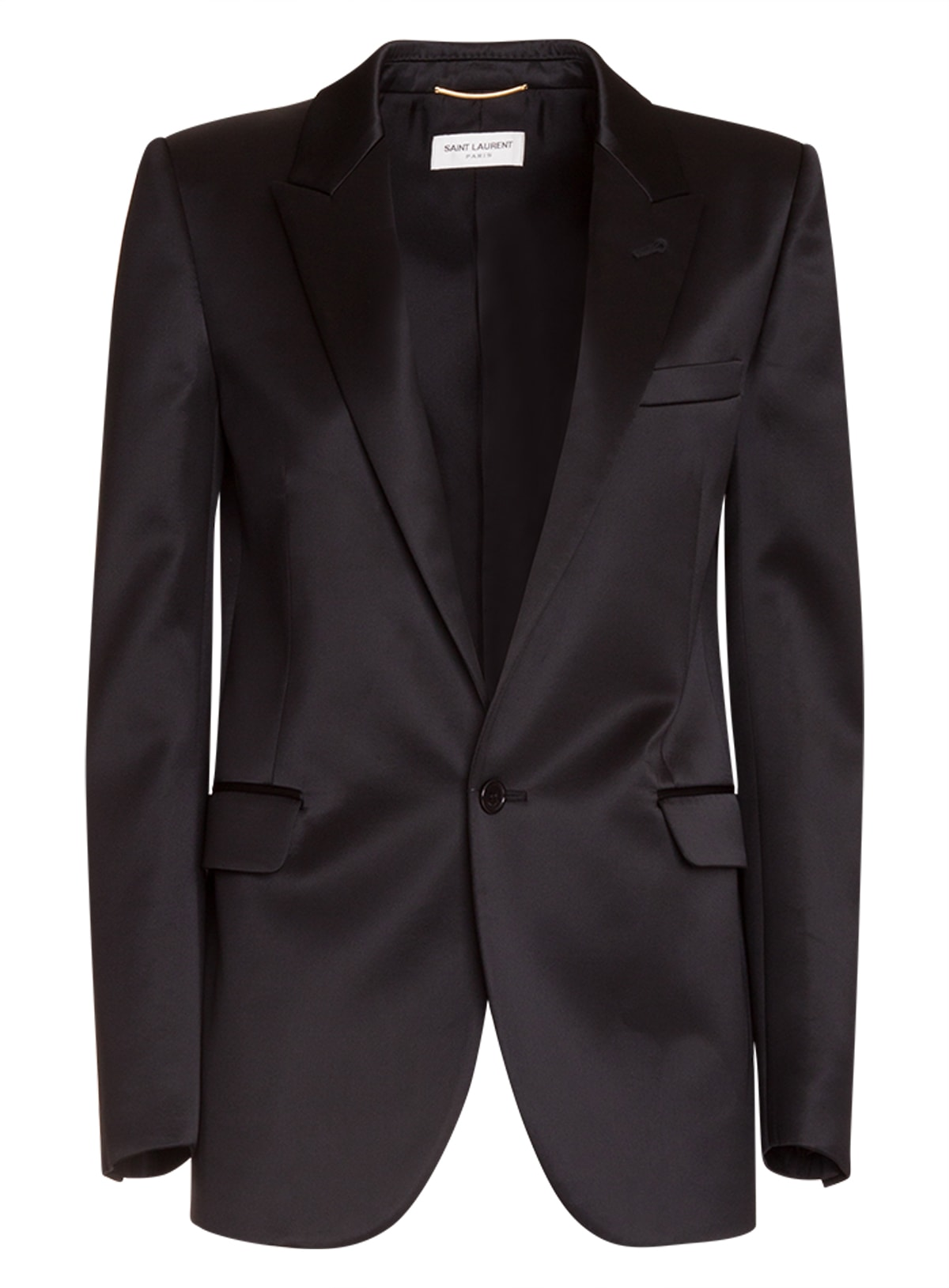 Saint Laurent Single-breasted Tube Jacket In Satin Viscose