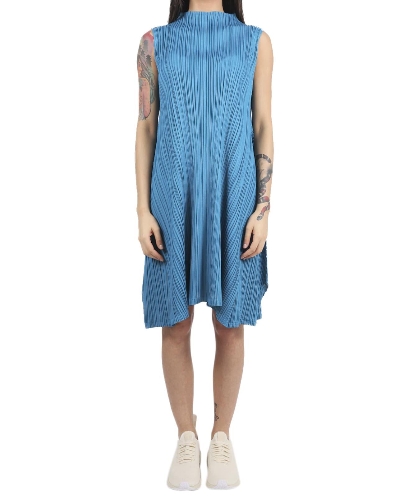 Buy Pleats Please Blue Mellow Pleats Dress online, shop Pleats Please Issey Miyake with free shipping