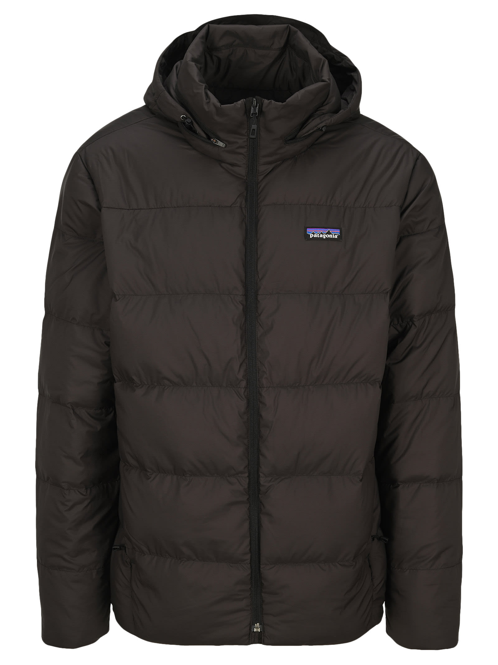 Black Silent Down Jacket By Patagonia. Featuring: - High Standing Collar; - Front Zip Fastening; - Logo Patch At The Chest; - Long Sleeves; - Straight Hem. Composition: 70% RECYCLED POLYESTER, 30% POLYESTER