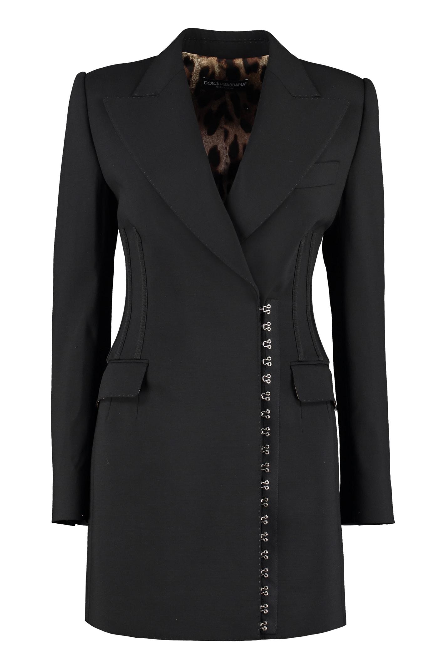 Dolce & Gabbana Stretch Virgin Wool Blazer In Black