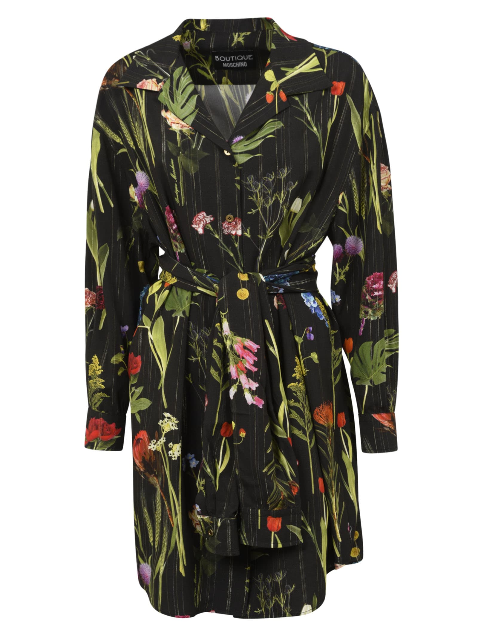 Boutique Moschino Tie-waist Floral Printed Dress