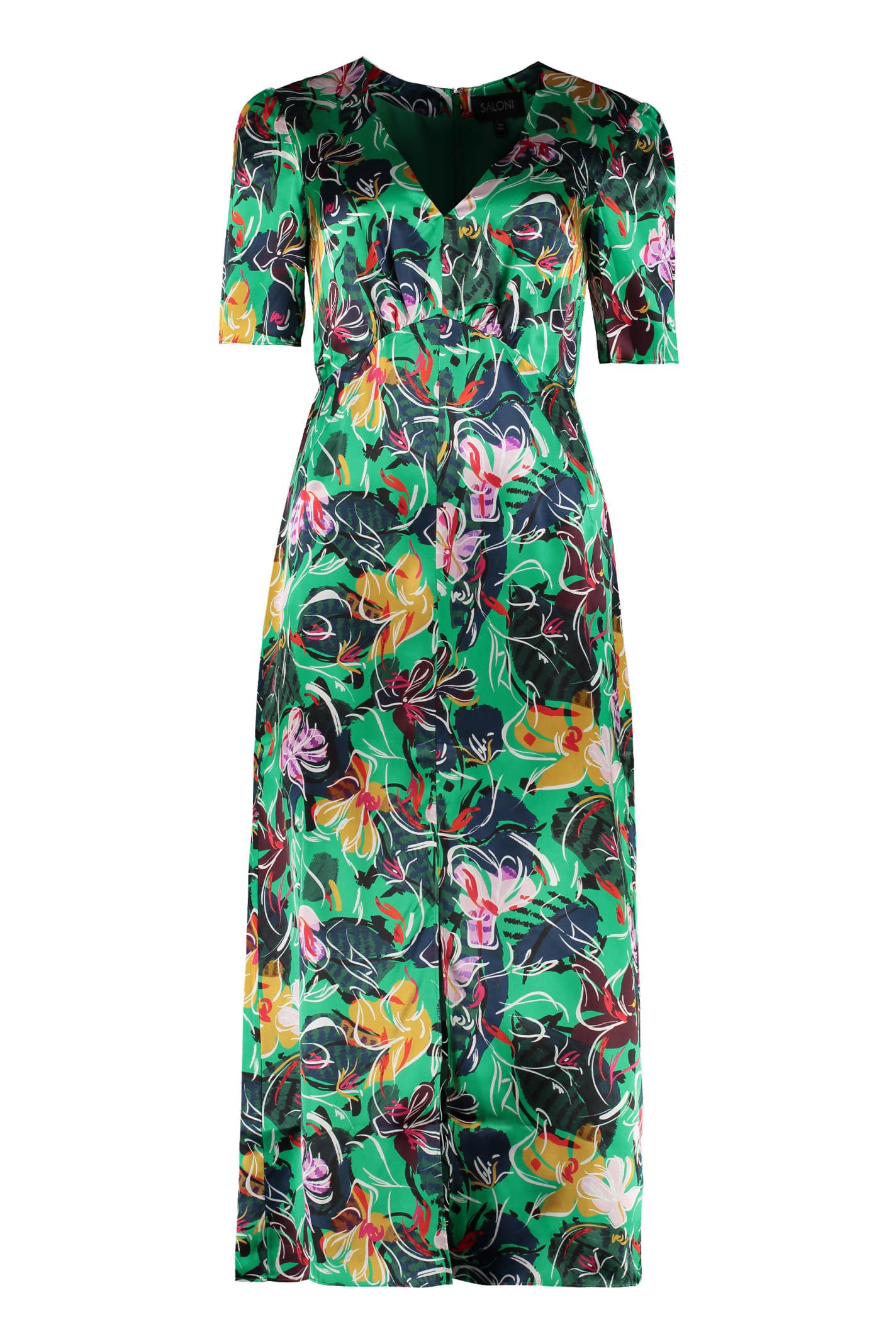 Buy Saloni Eden Printed Satin Dress online, shop Saloni with free shipping