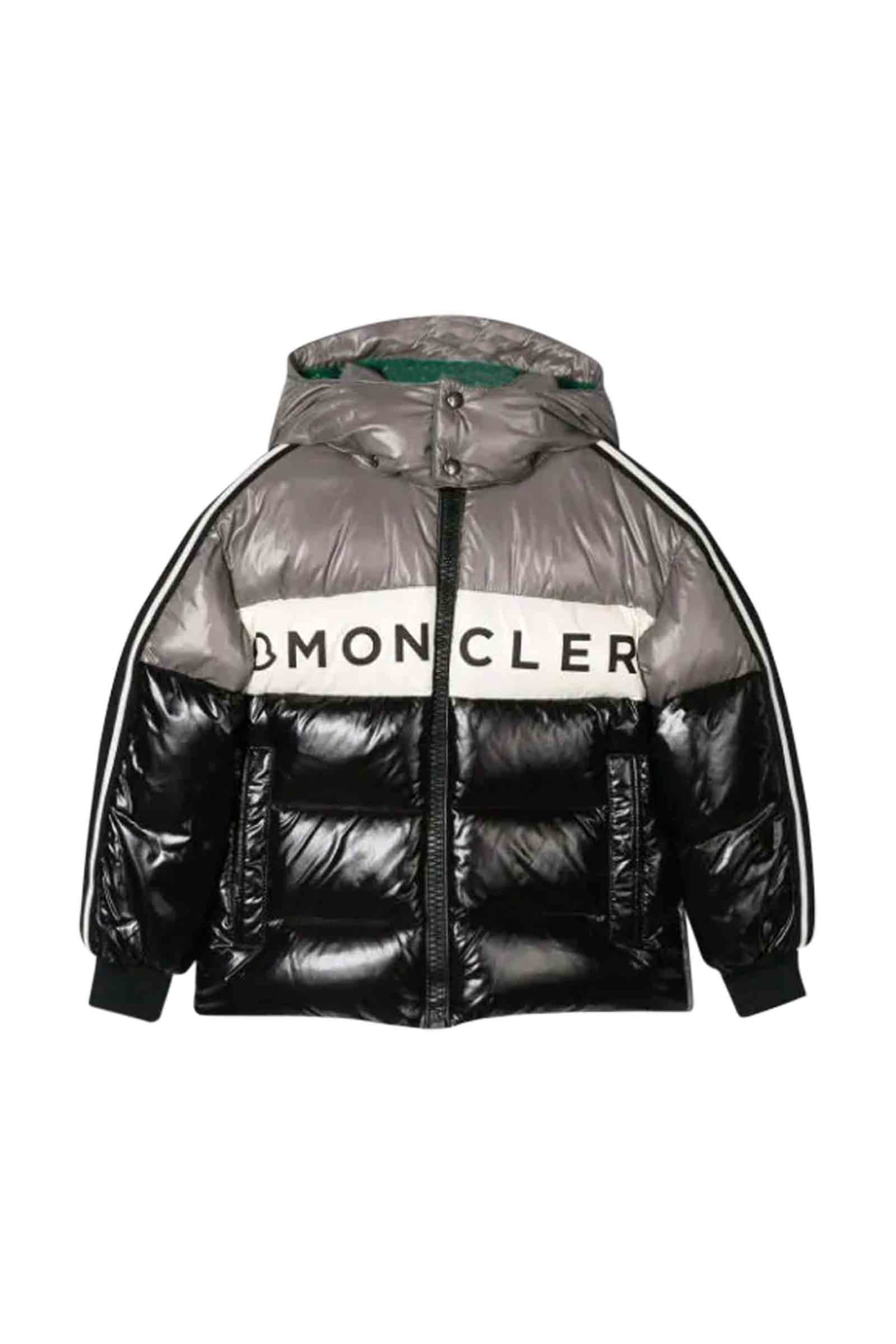 Moncler Kids' Down Jacket With Hood In Grigio