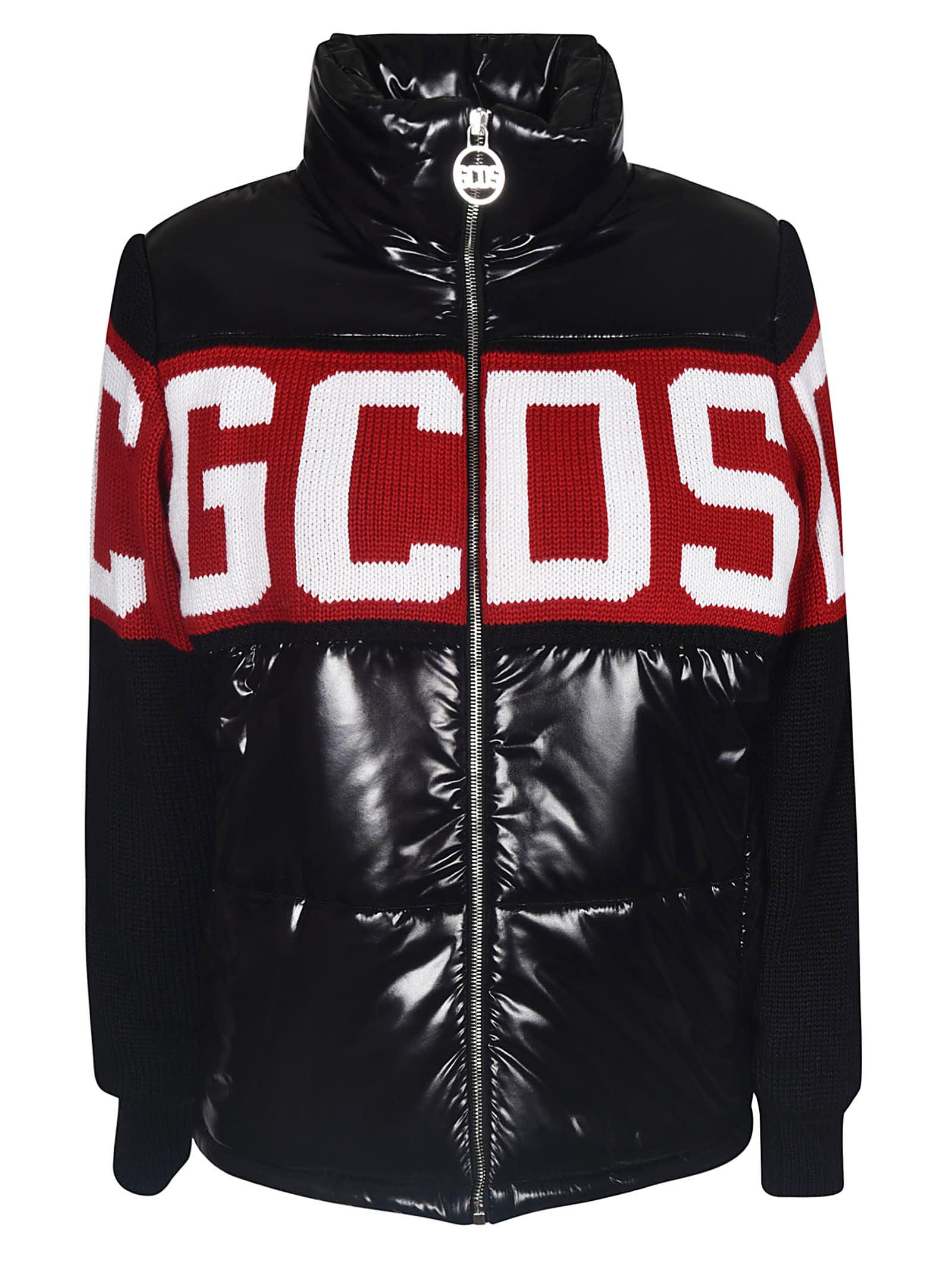 GCDS Logo Embroidered Zipped Padded Jacket