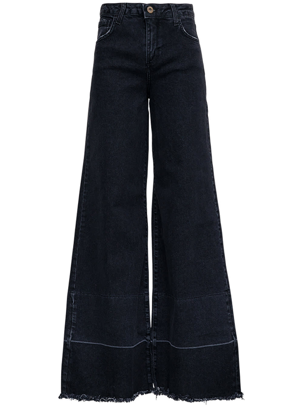 Wide Leg Fringed Jeans