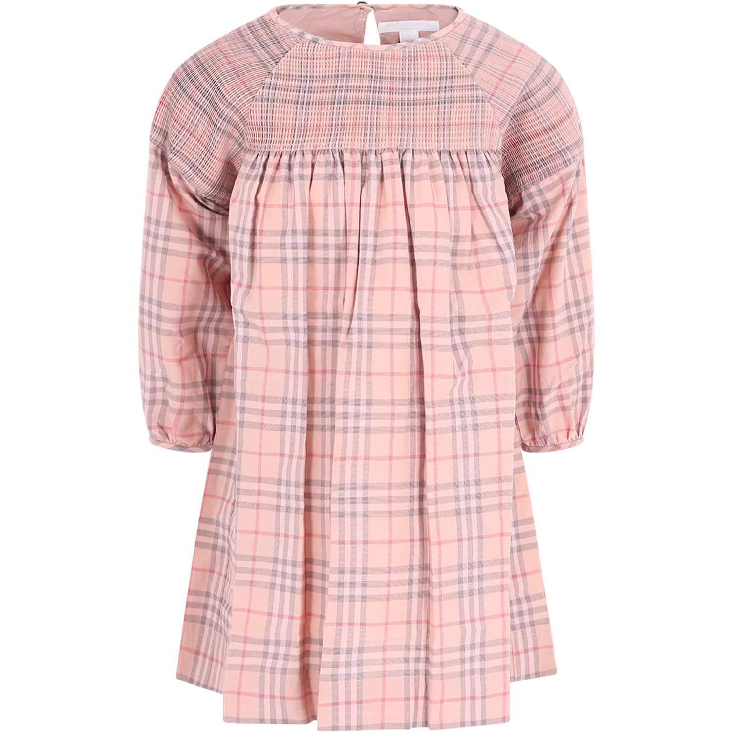 Burberry Pink Checked Girl Dress