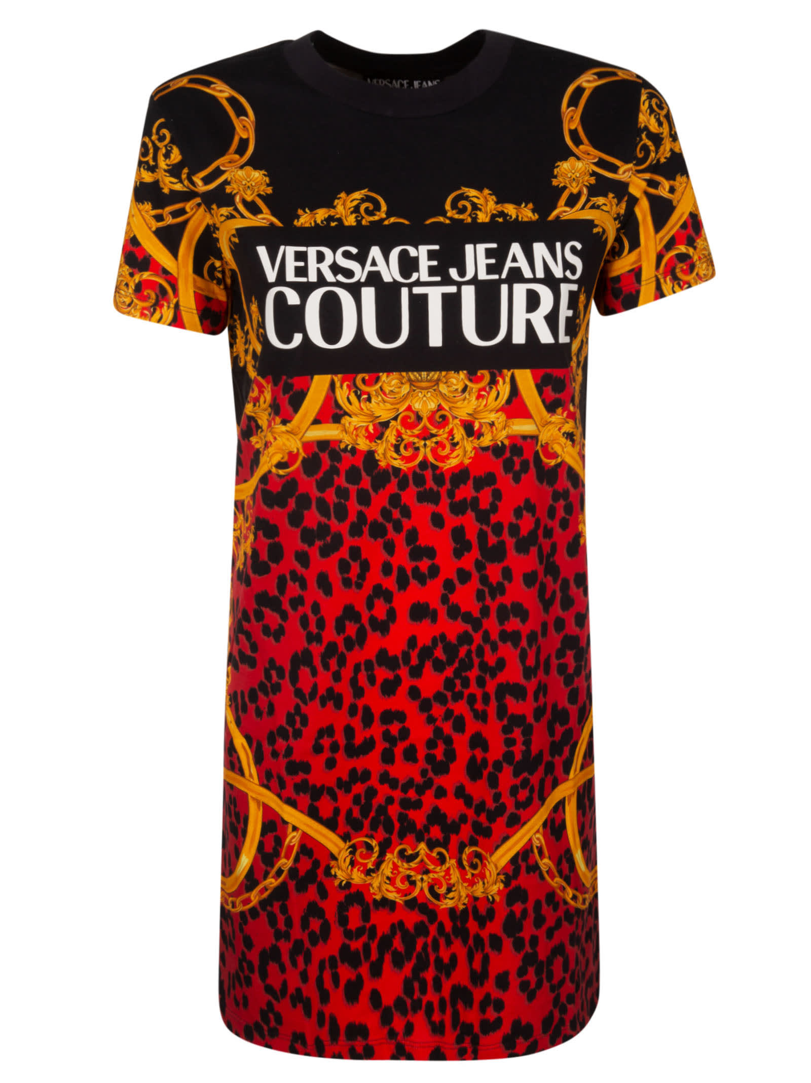 Buy Versace Jeans Couture Couture Printed Dress online, shop Versace Jeans Couture with free shipping