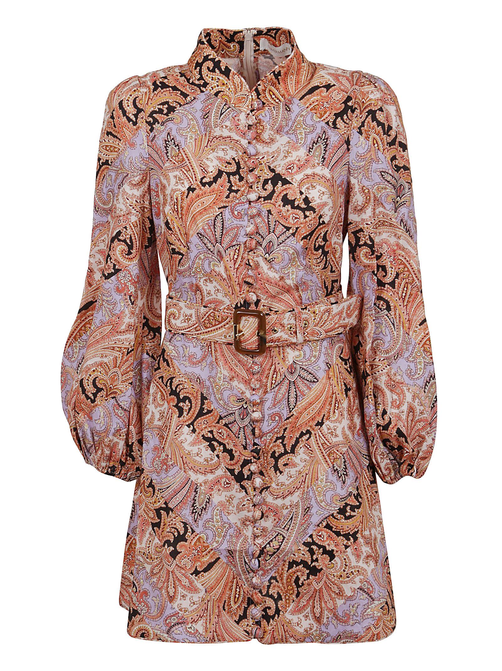 Buy Zimmermann Botanica Chevron Mini Dress online, shop Zimmermann with free shipping