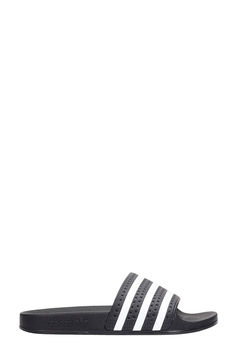Adidas Adilette Flats In Black Rubber/plasic