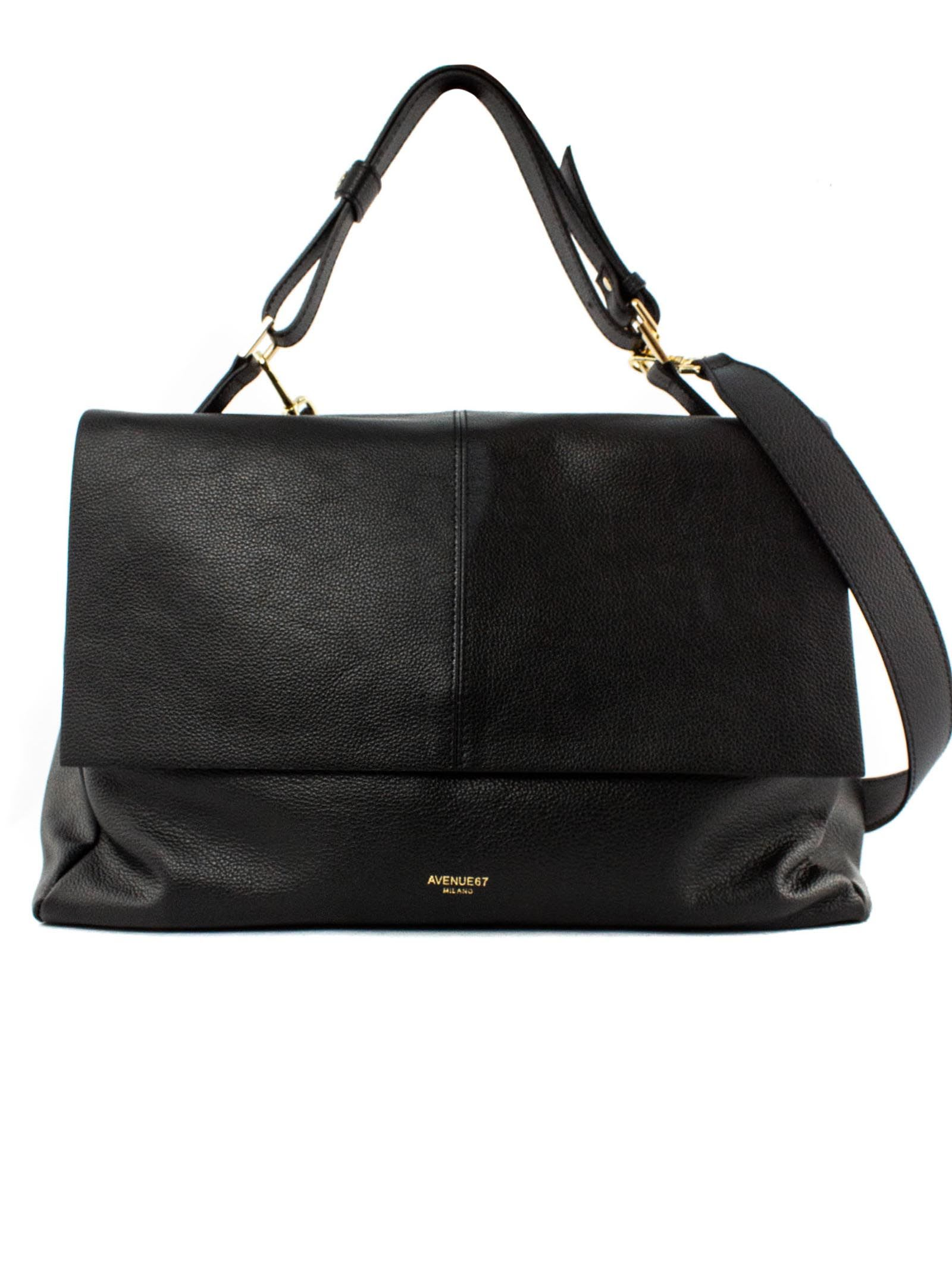 Elettra Giant Bag In Soft Black Leather