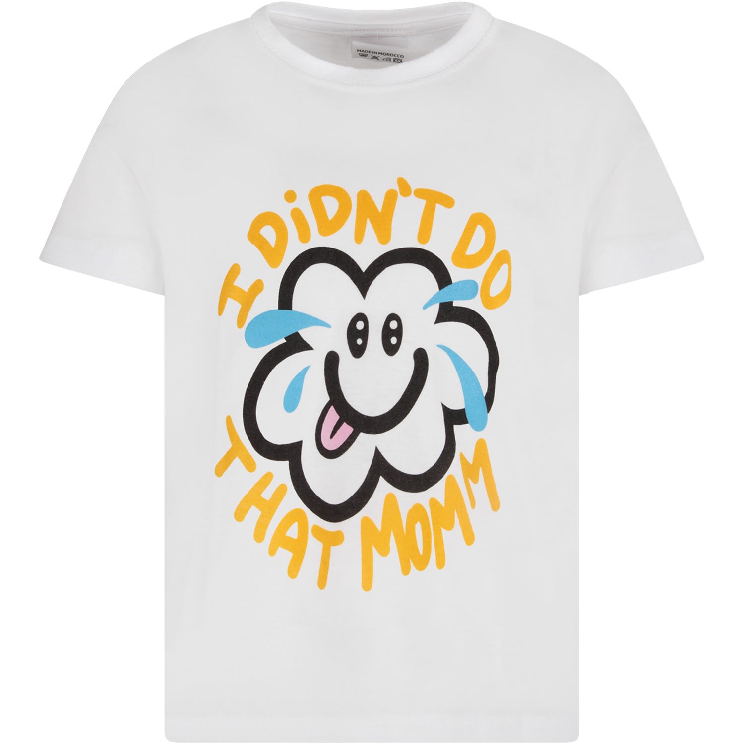 White T-shirt With Colorful Cloud For Kids