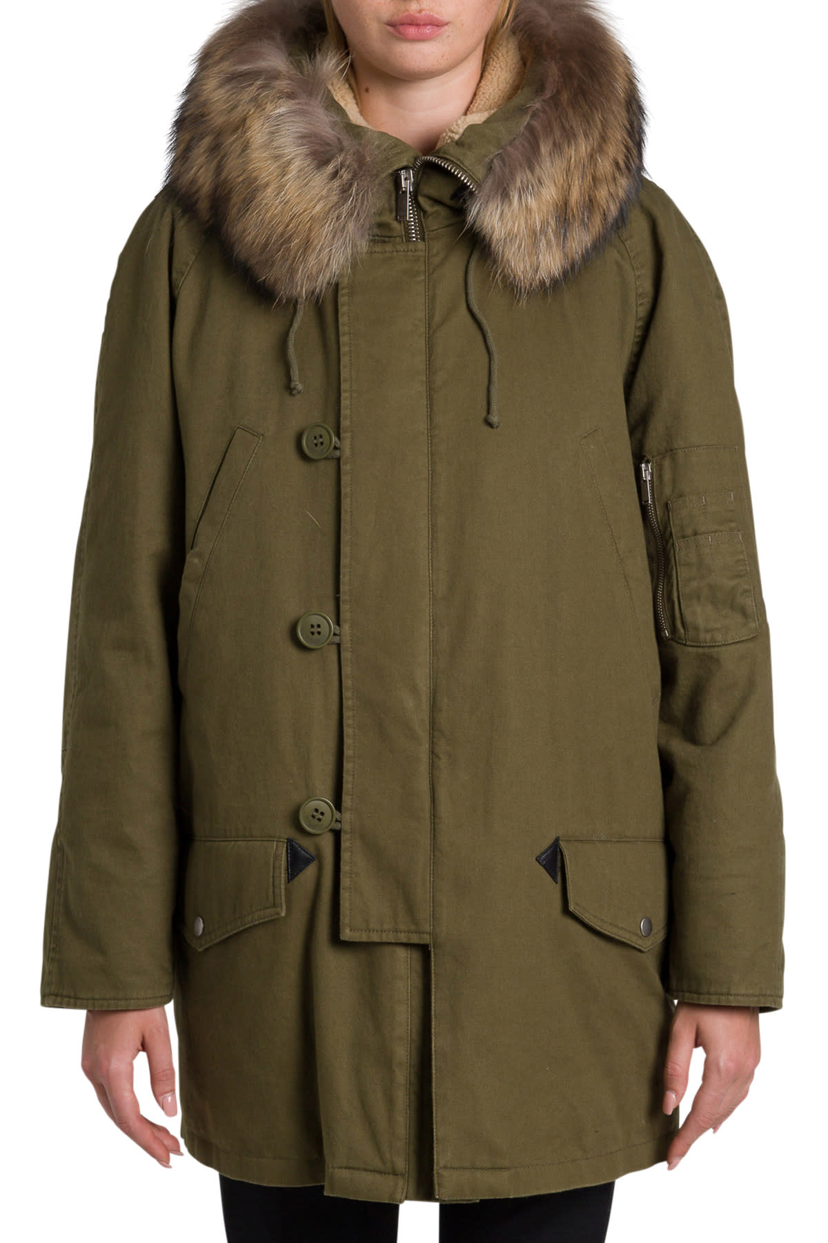 Saint Laurent Oversize Parka With Racoon Fur