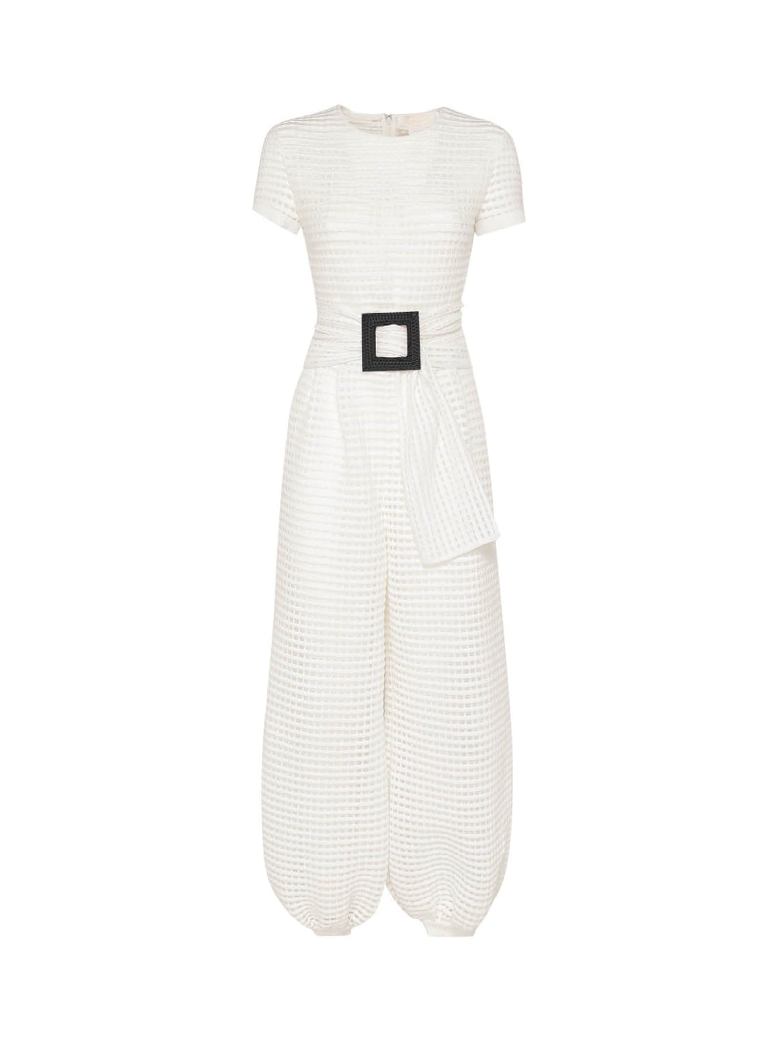 White Belted Knitted Jumpsuit