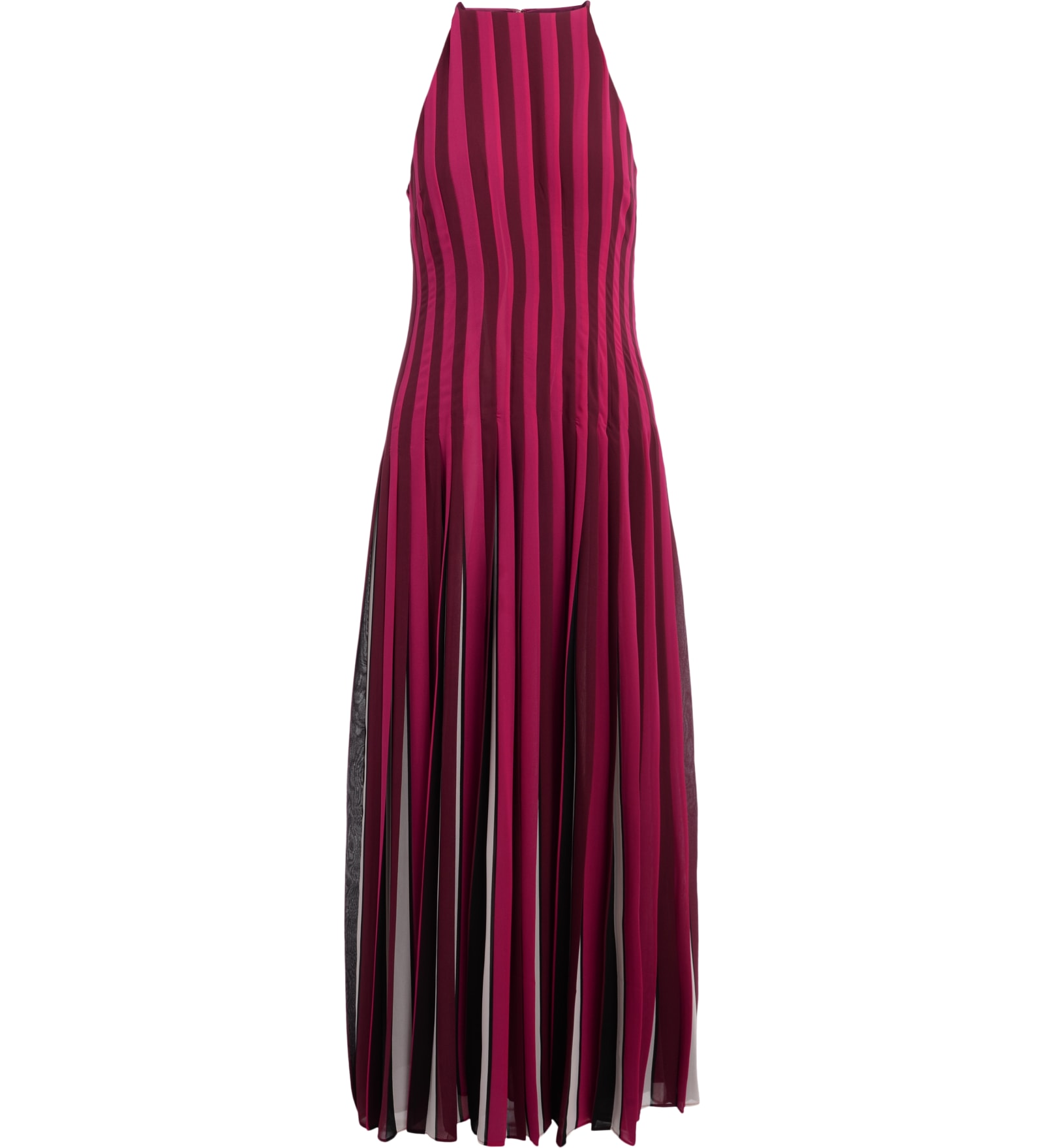 Long Michael Kors Striped Dress With Pleated Bottom