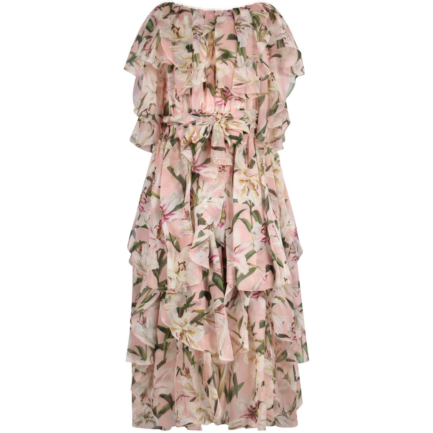 Dolce & Gabbana Pink Girl Dress With White Lilies
