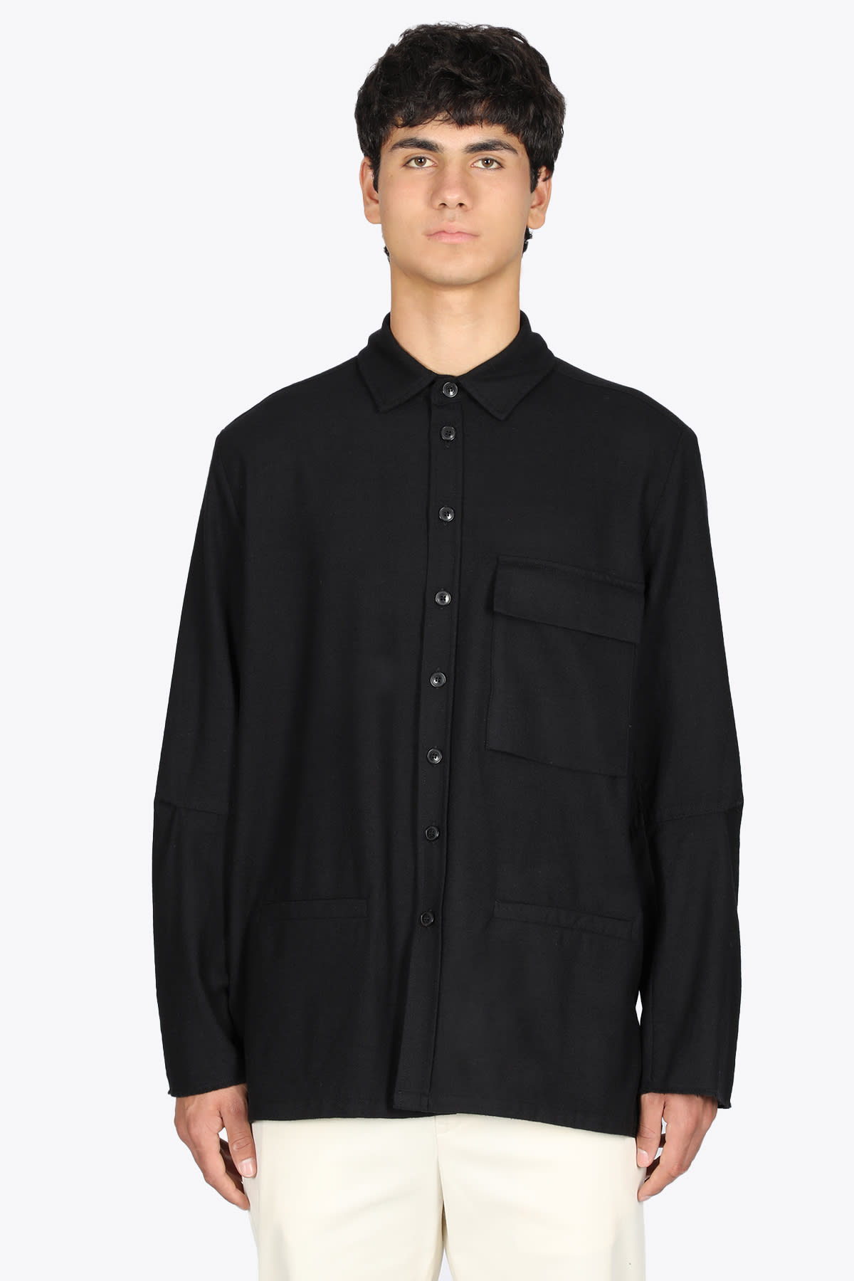 Black Wool Overshirt With Pockets