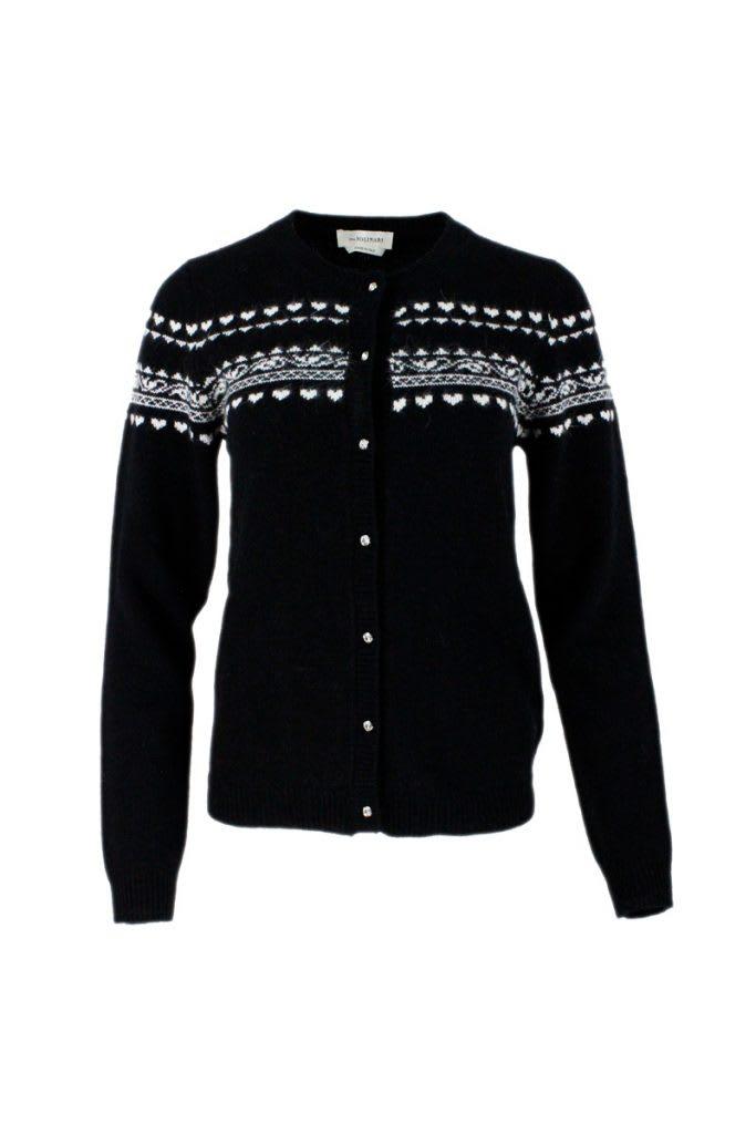 Crewneck Cardigan Sweater With Jewel Button Closure With Jacquard Motif