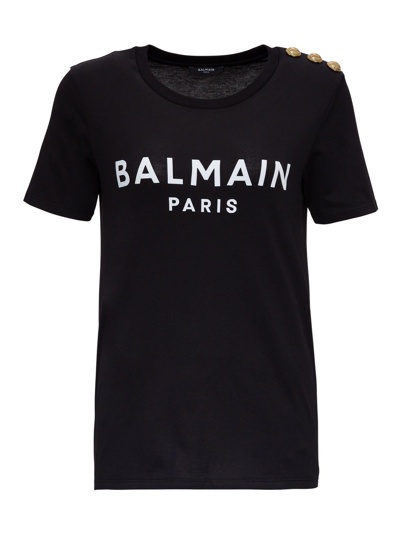 Balmain T-shirt In Jersey Con Logo E Bottoni Goffrati Sulla Spalla