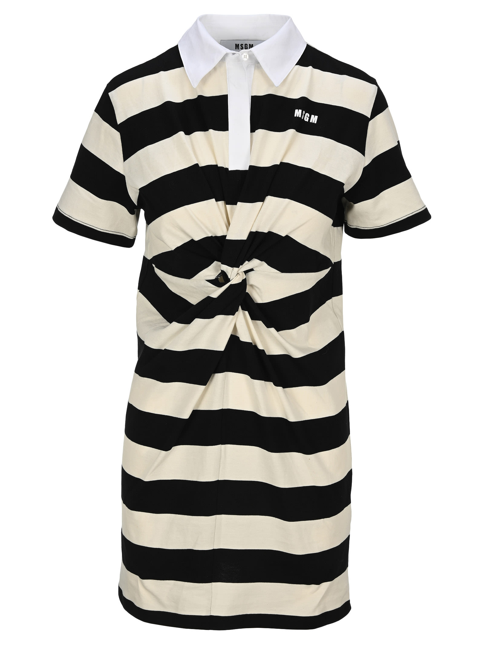 Buy Msgm Twisted-waist Striped Dress online, shop MSGM with free shipping