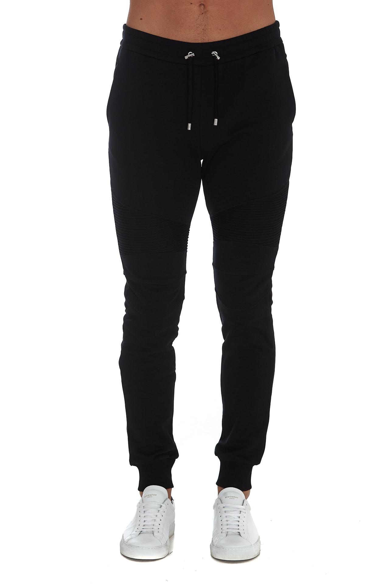 Balmain Flocked Ribbed Sweatpants In Black
