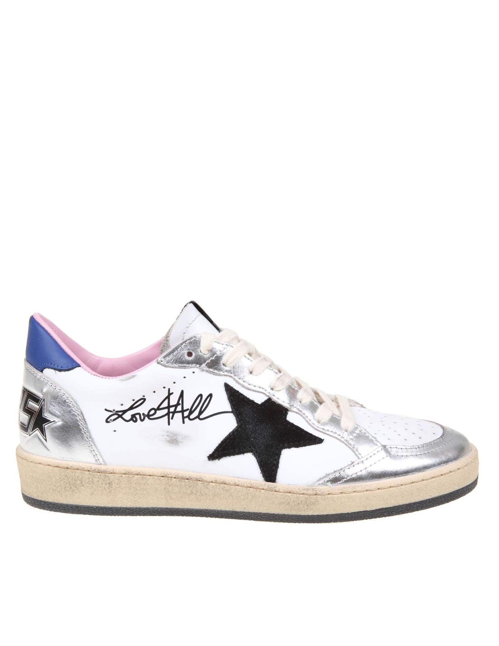 Buy Golden Goose Ballstar White And Silver Laminated Sneakers online, shop Golden Goose shoes with free shipping