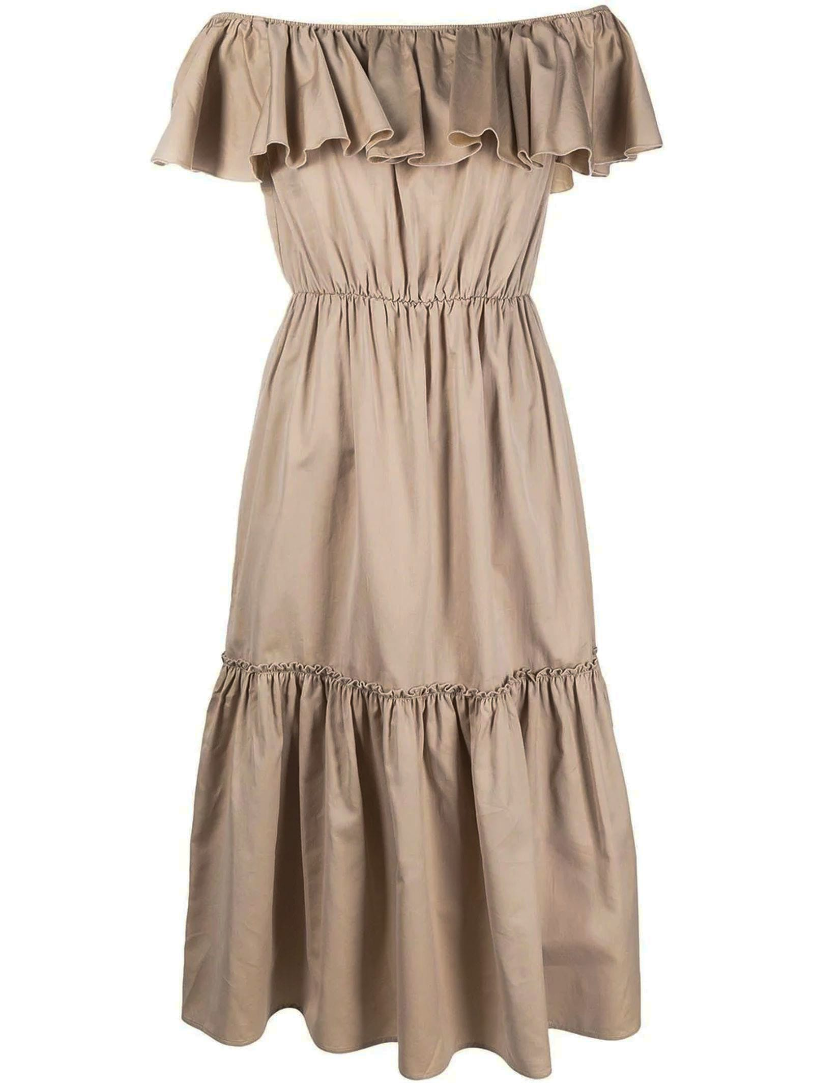 Buy Beige Cotton-silk Blend Dress online, shop Federica Tosi with free shipping
