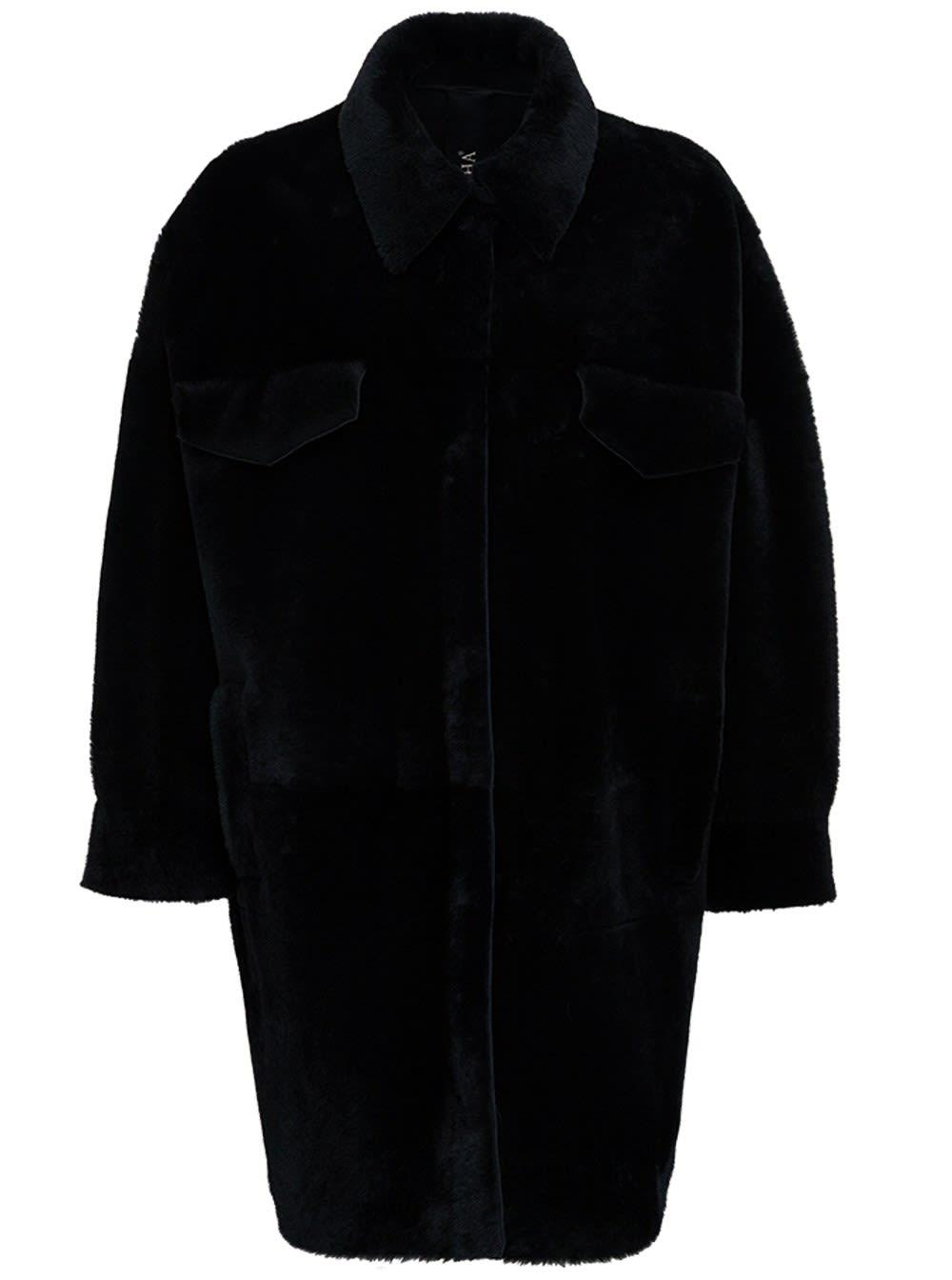 Leather And Merino Wool Reversible Black Coat