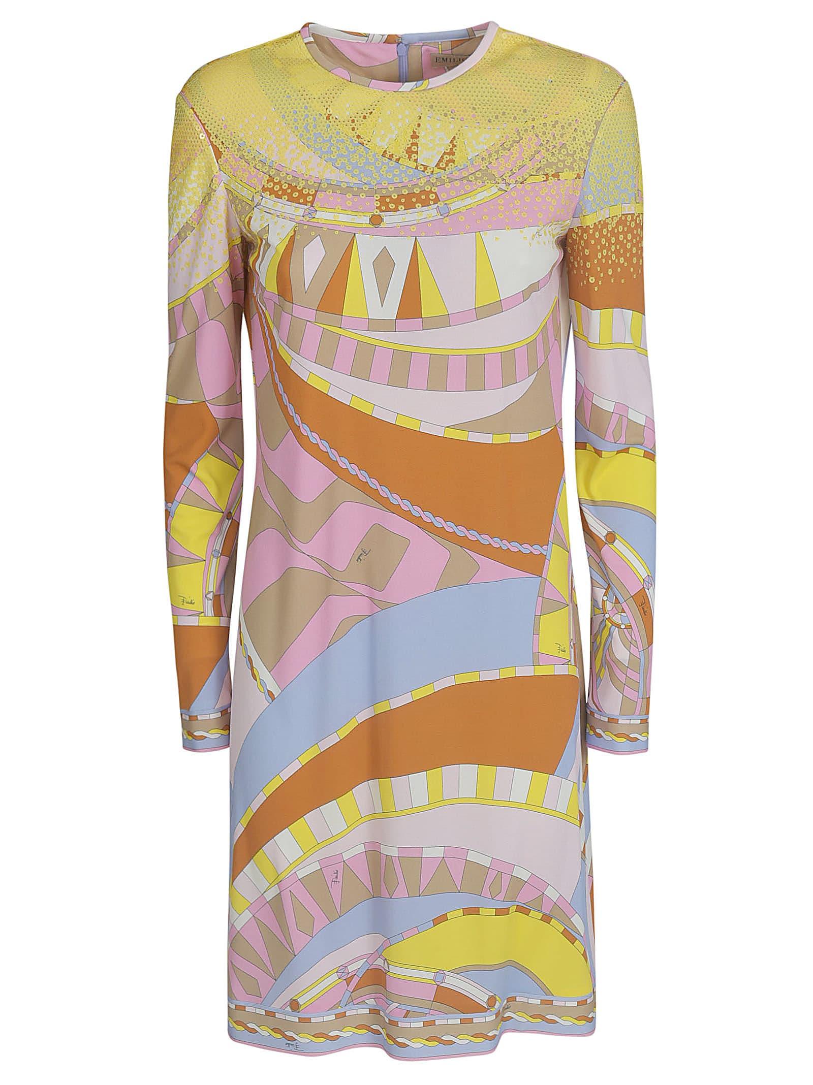 Rear Zipped Printed Dress