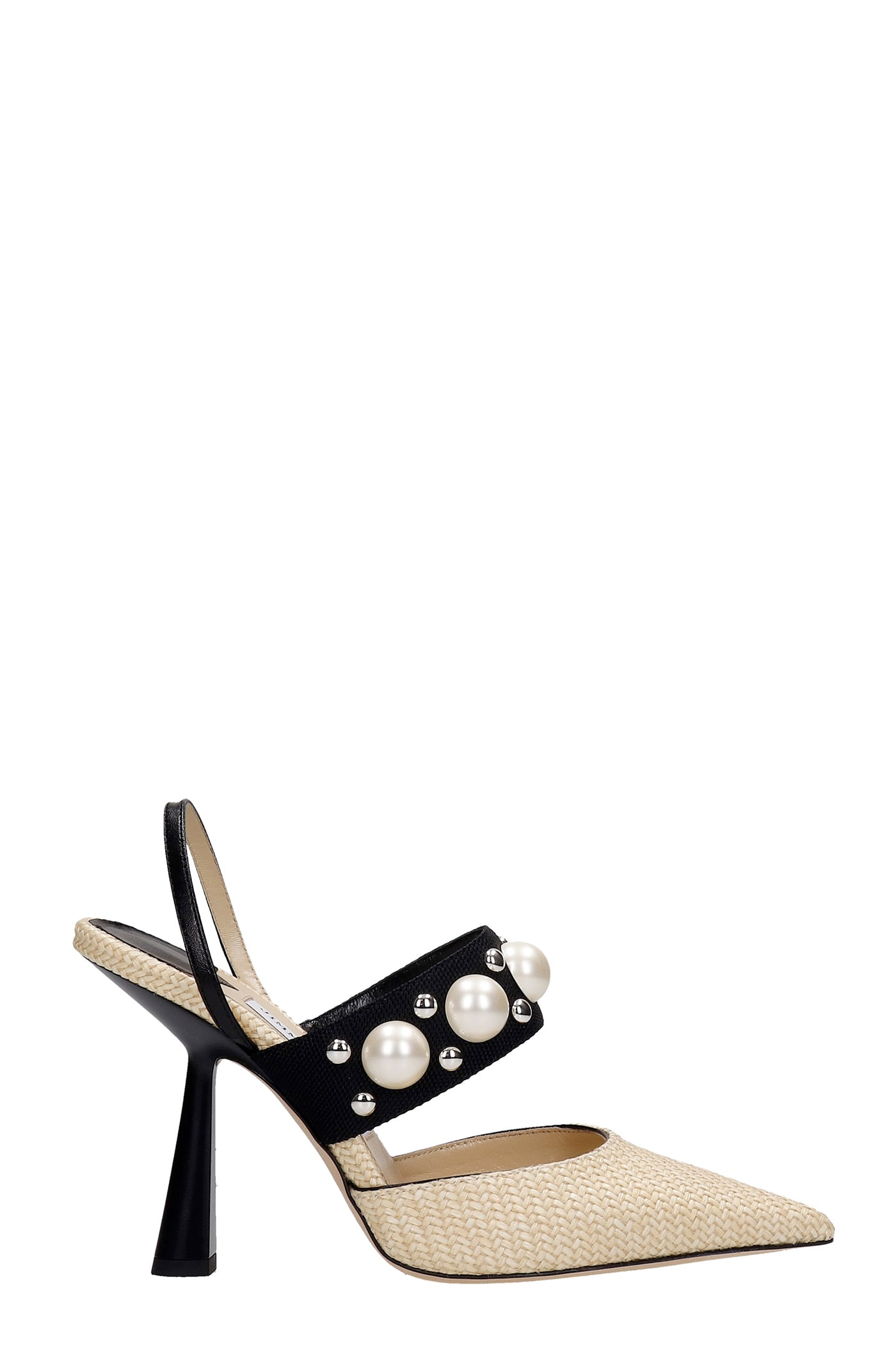 Buy Jimmy Choo Breslin Sandals In Beige Leather And Fabric online, shop Jimmy Choo shoes with free shipping