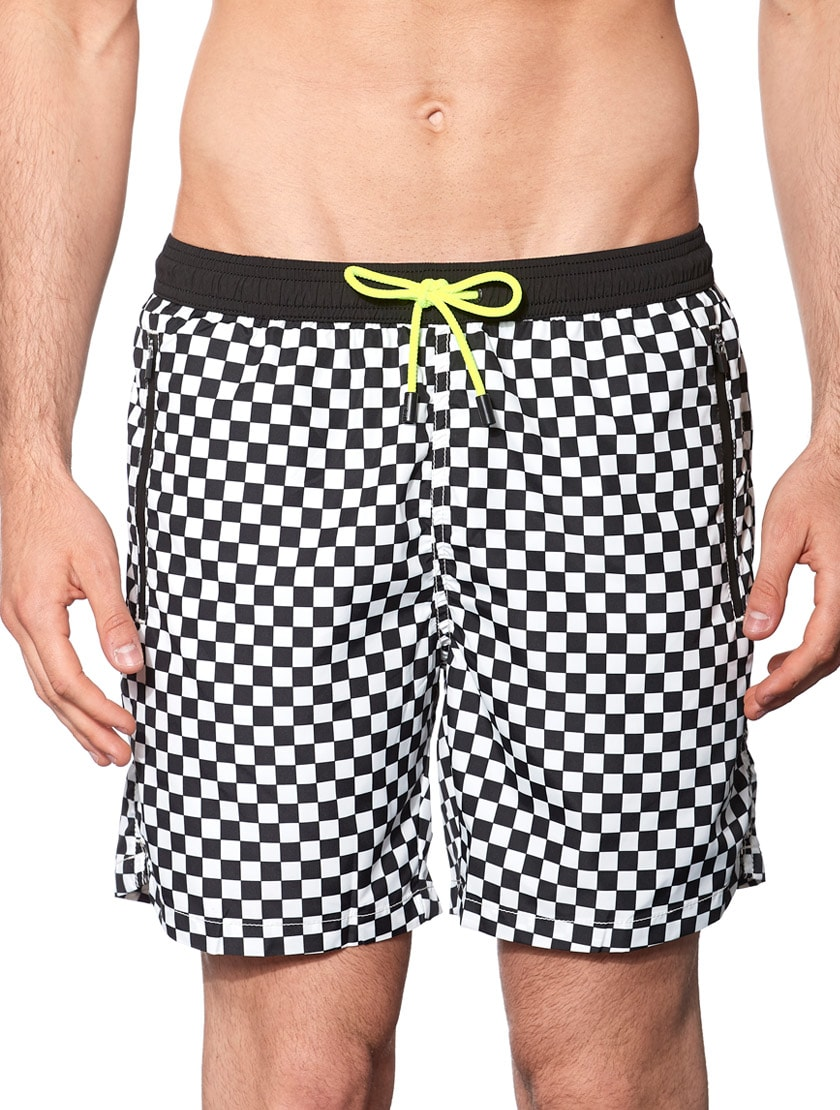 Check Light Fabric Zipped Swim Shorts