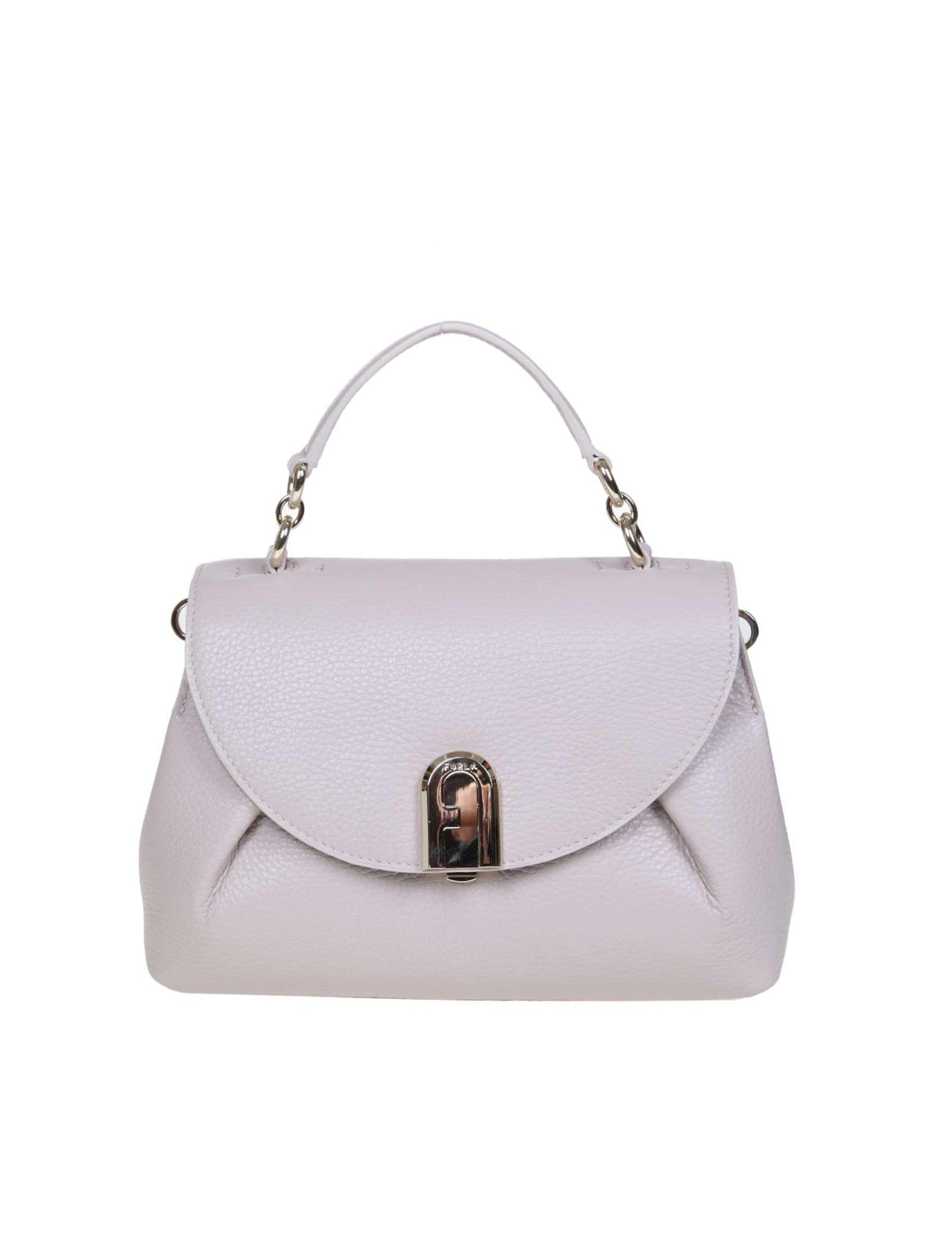 Furla Sleek S Hand Bag In Beige Color Leather