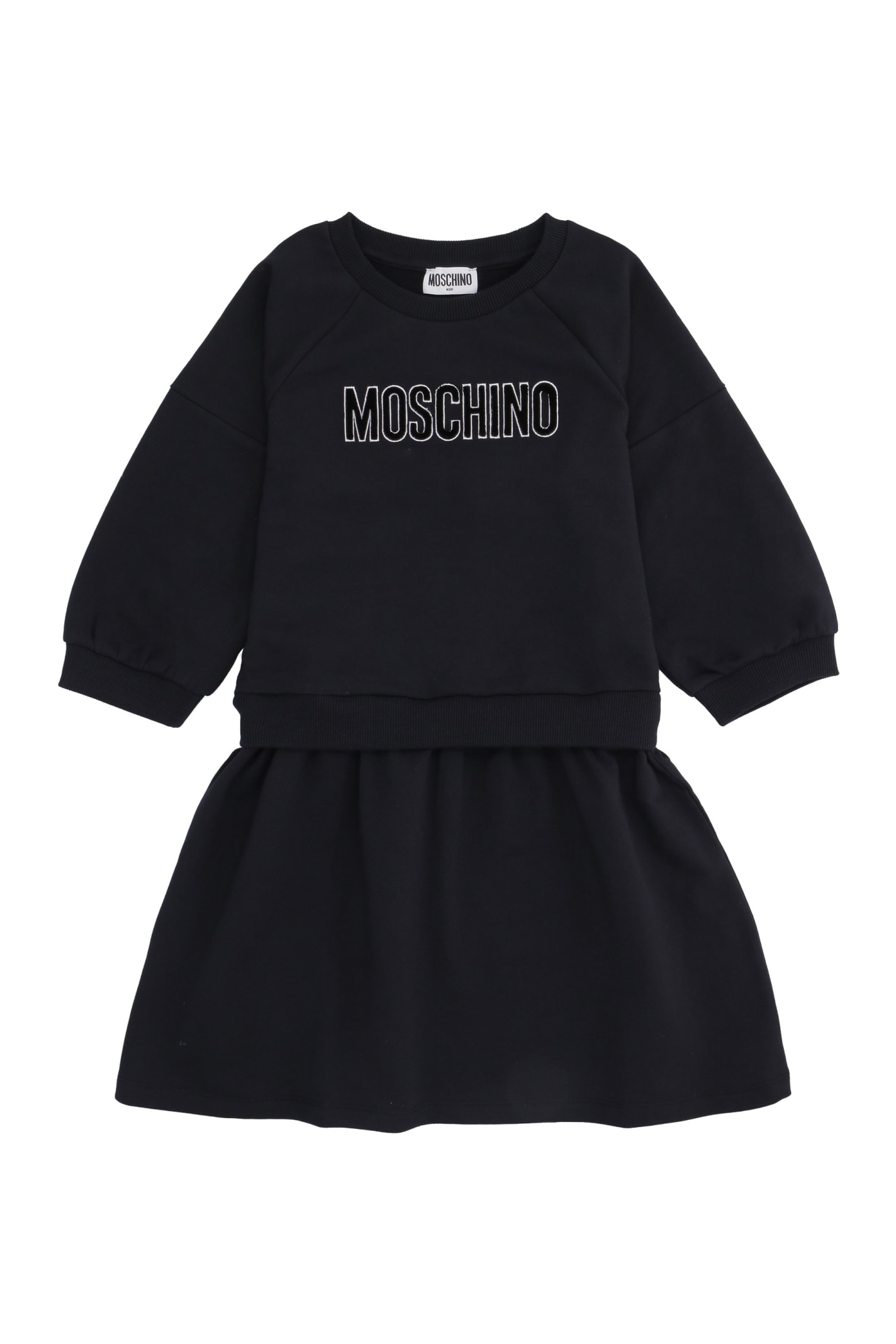 Moschino Logo Print Long Sleeve Dress