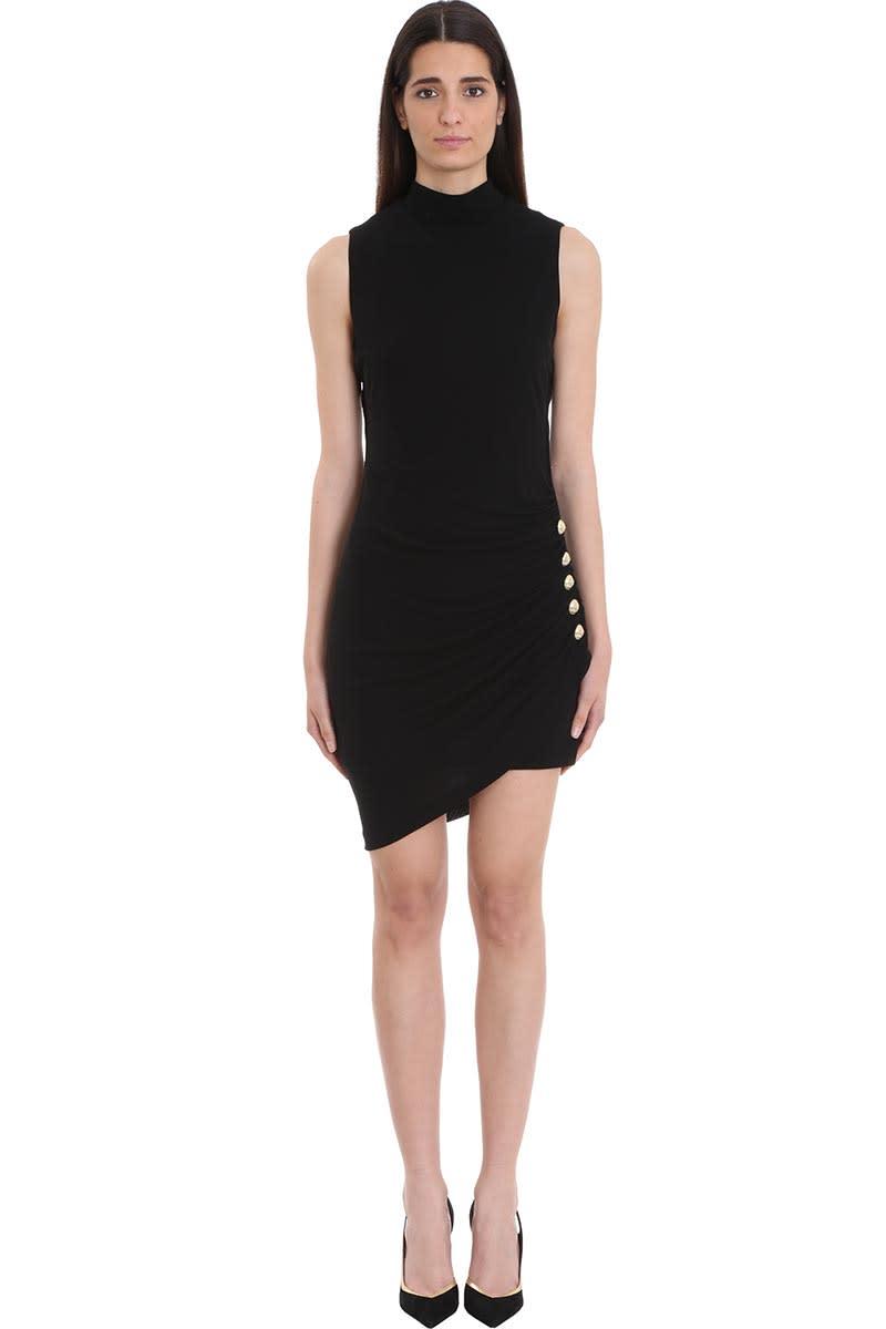 Balmain Pleated Black Jersey Dress