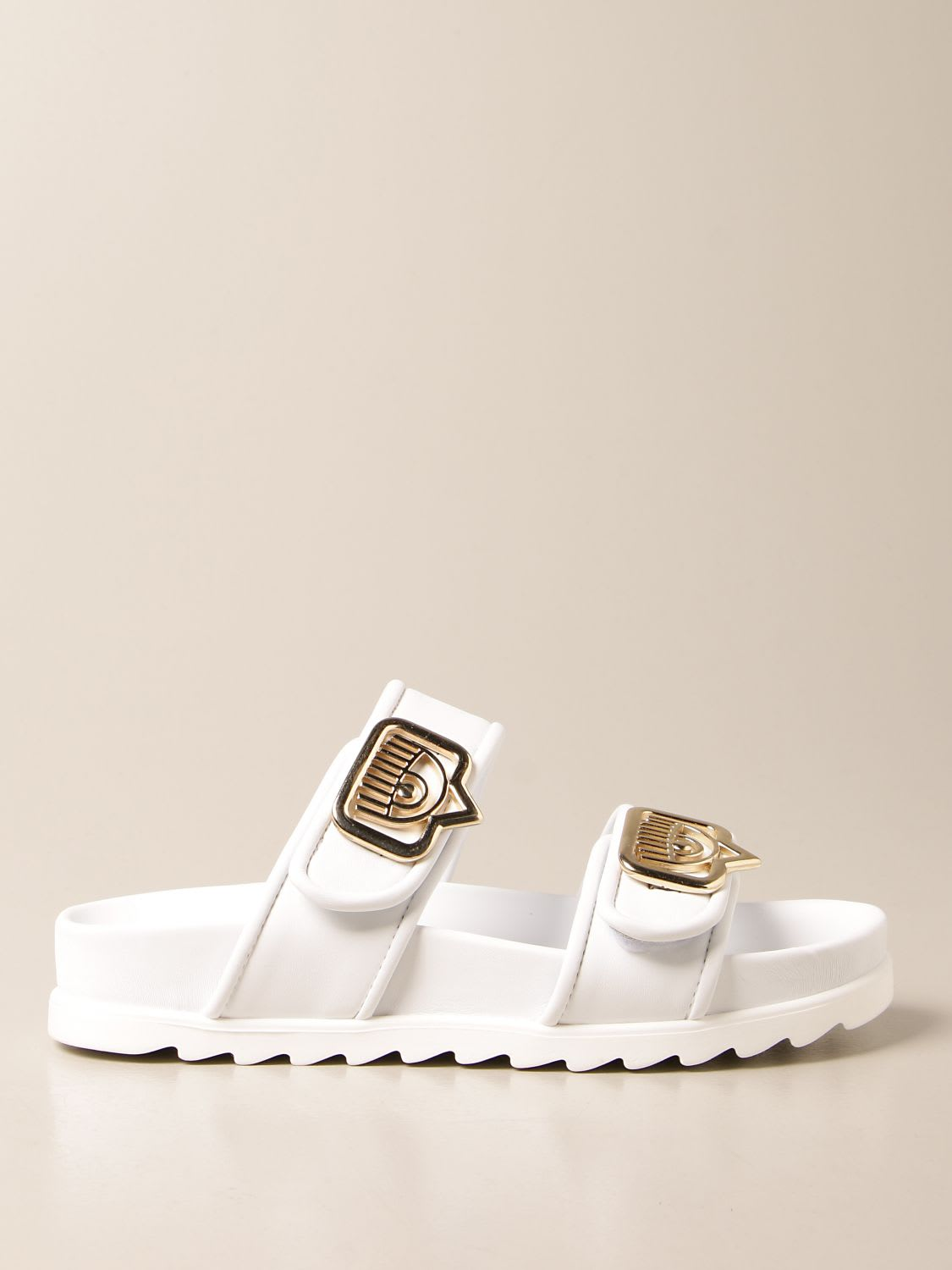 Chiara Ferragni SANDALS IN ECO-LEATHER WITH LOGO
